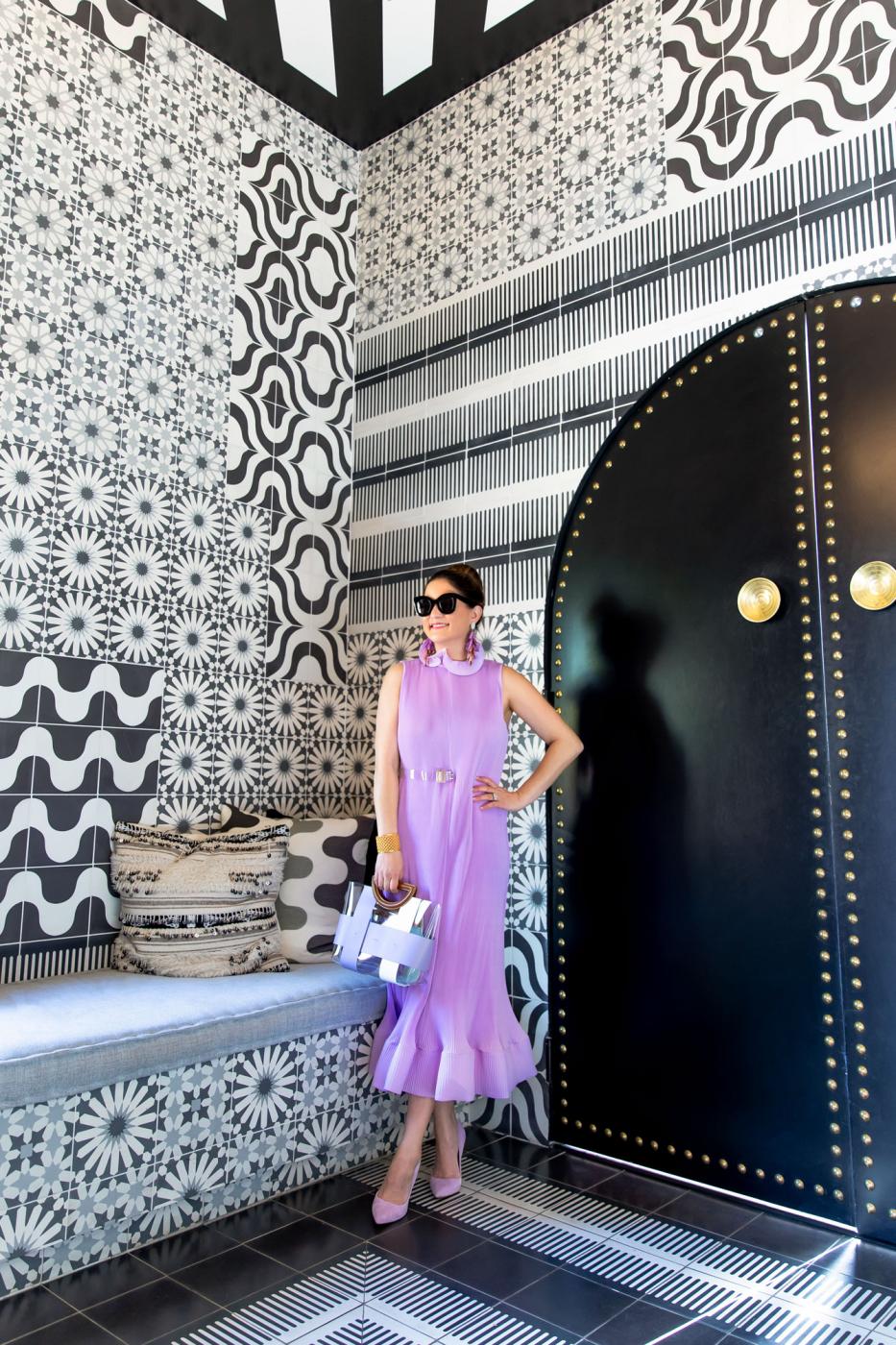 Jennifer Lake Tibi Lilac Pleated Dress