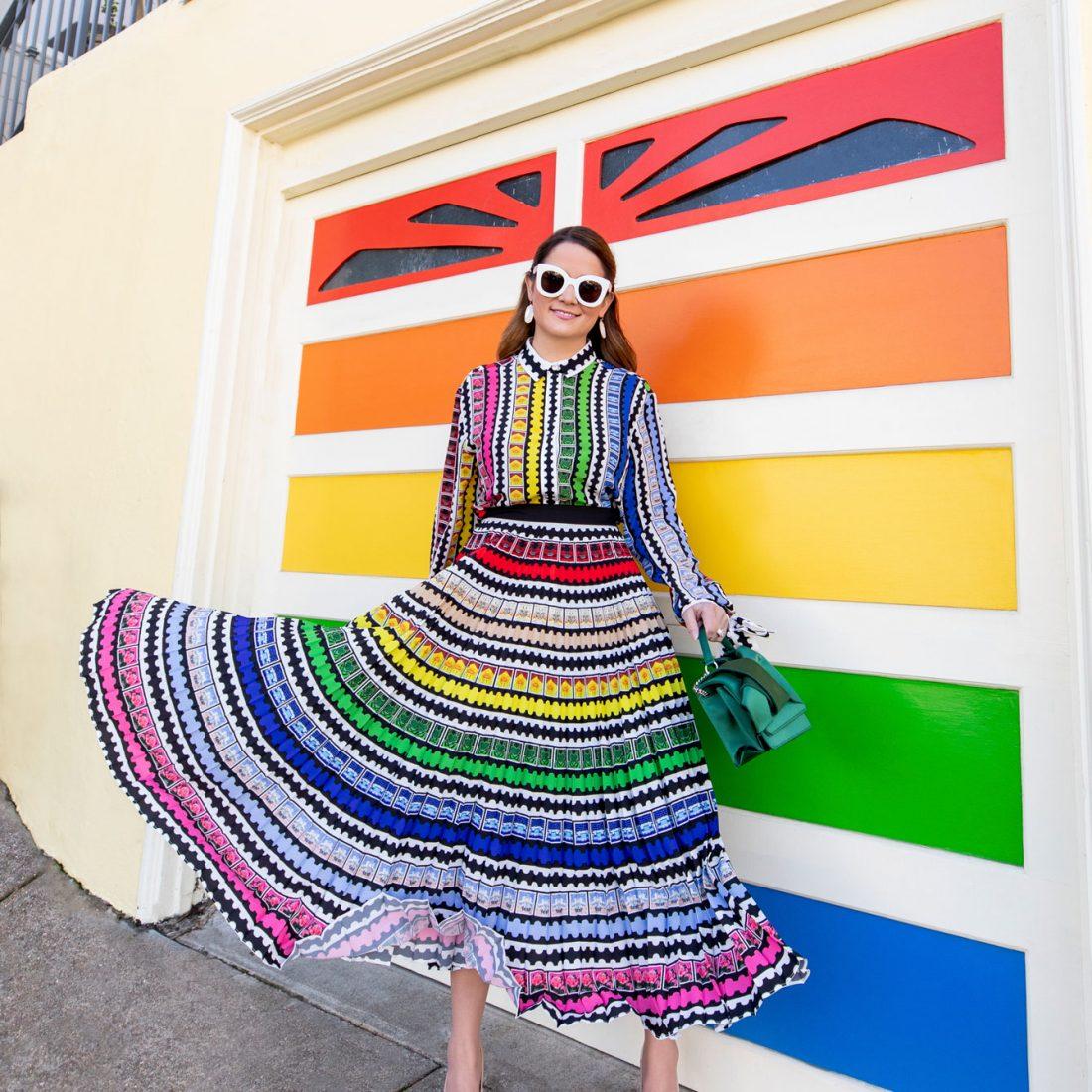 Mary Katrantzou Rainbow Pleated Skirt