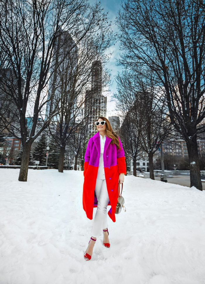 The Coziest Colorful Faux Fur Coat