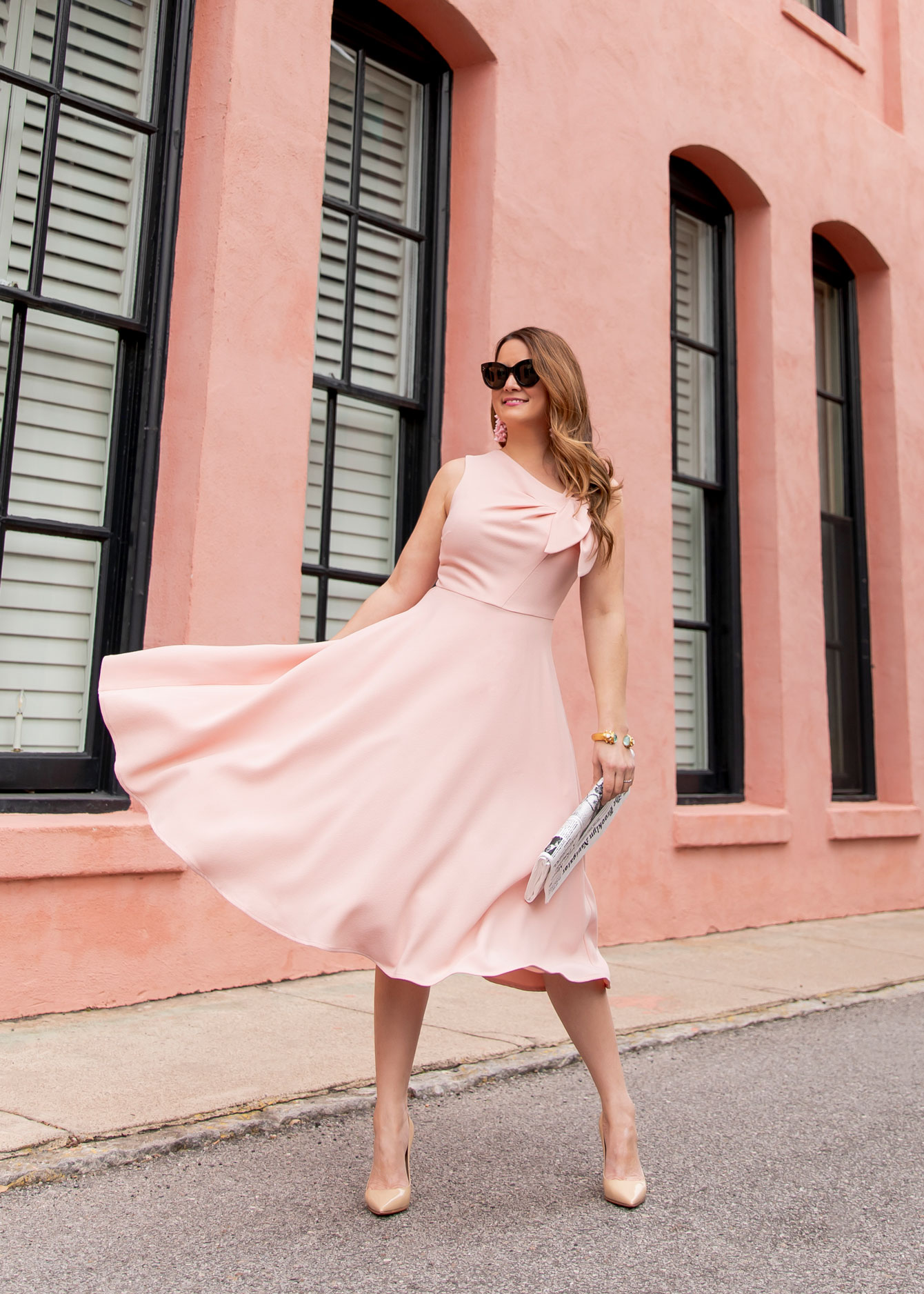 Pink Bow Front Fit Flare Dress