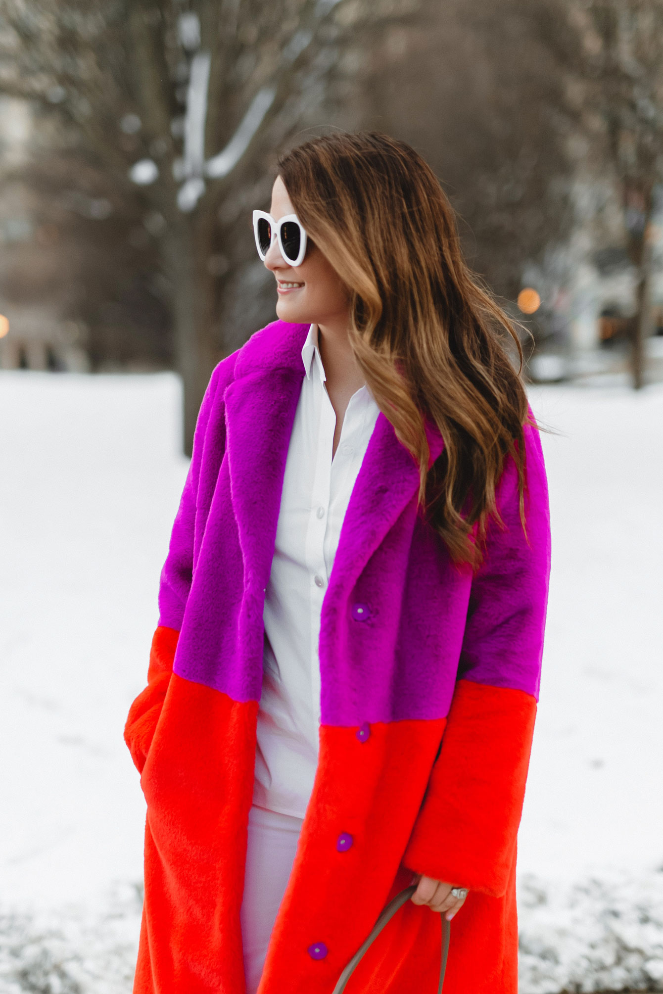 Red Purple Faux Fur Coat