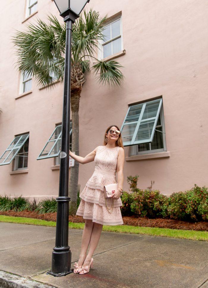 Eliza J Pink Lace Dress in Charleston