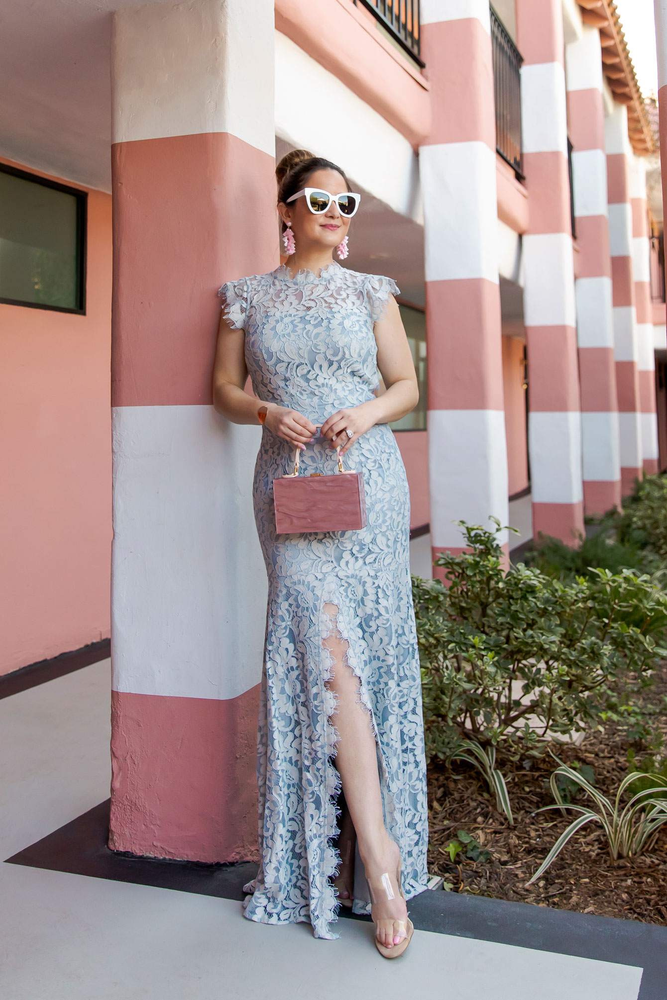 Blue Lace Evening Dress