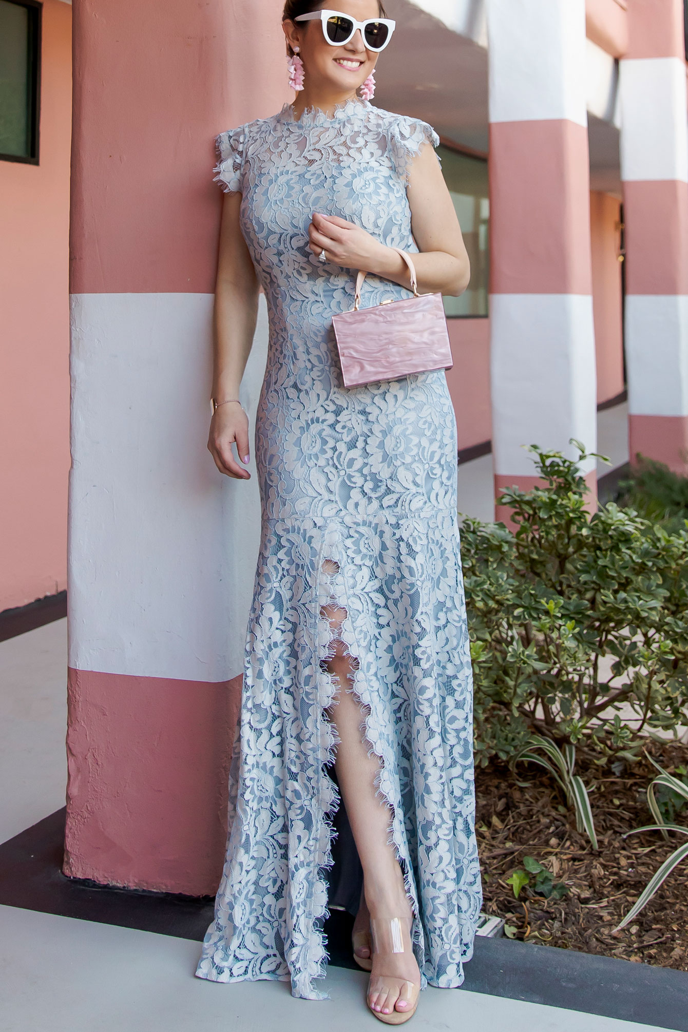 Eliza J Blue Lace Gown