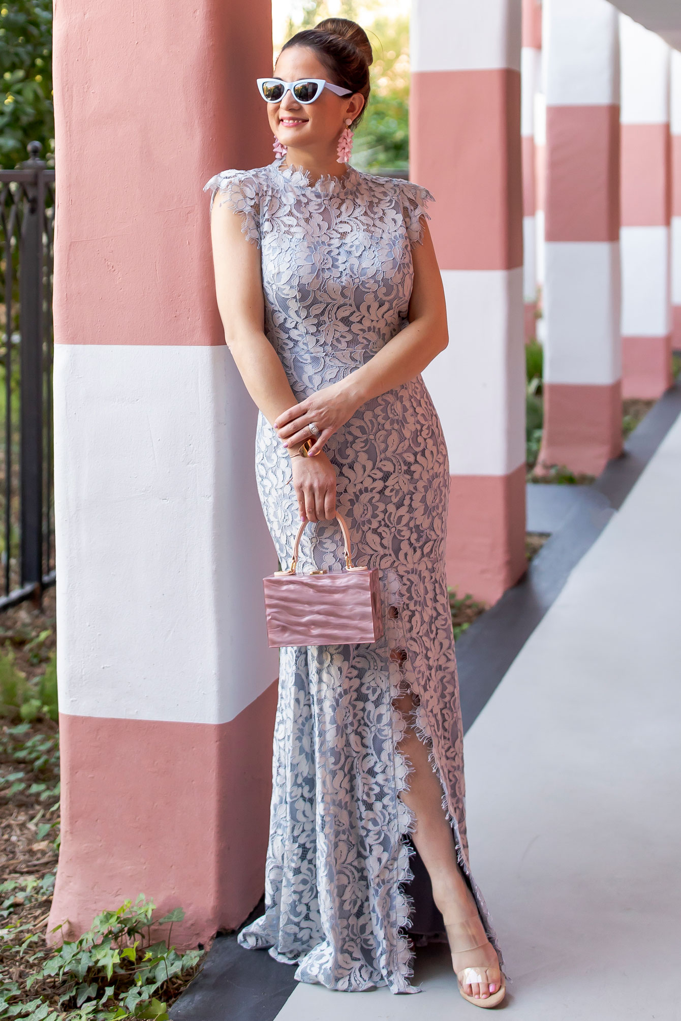 Eliza J Blue Lace Maxi Dress