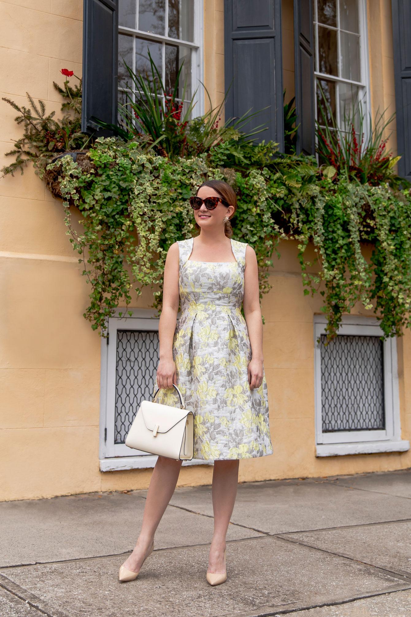 Eliza J Brocade Fit and Flare Dress