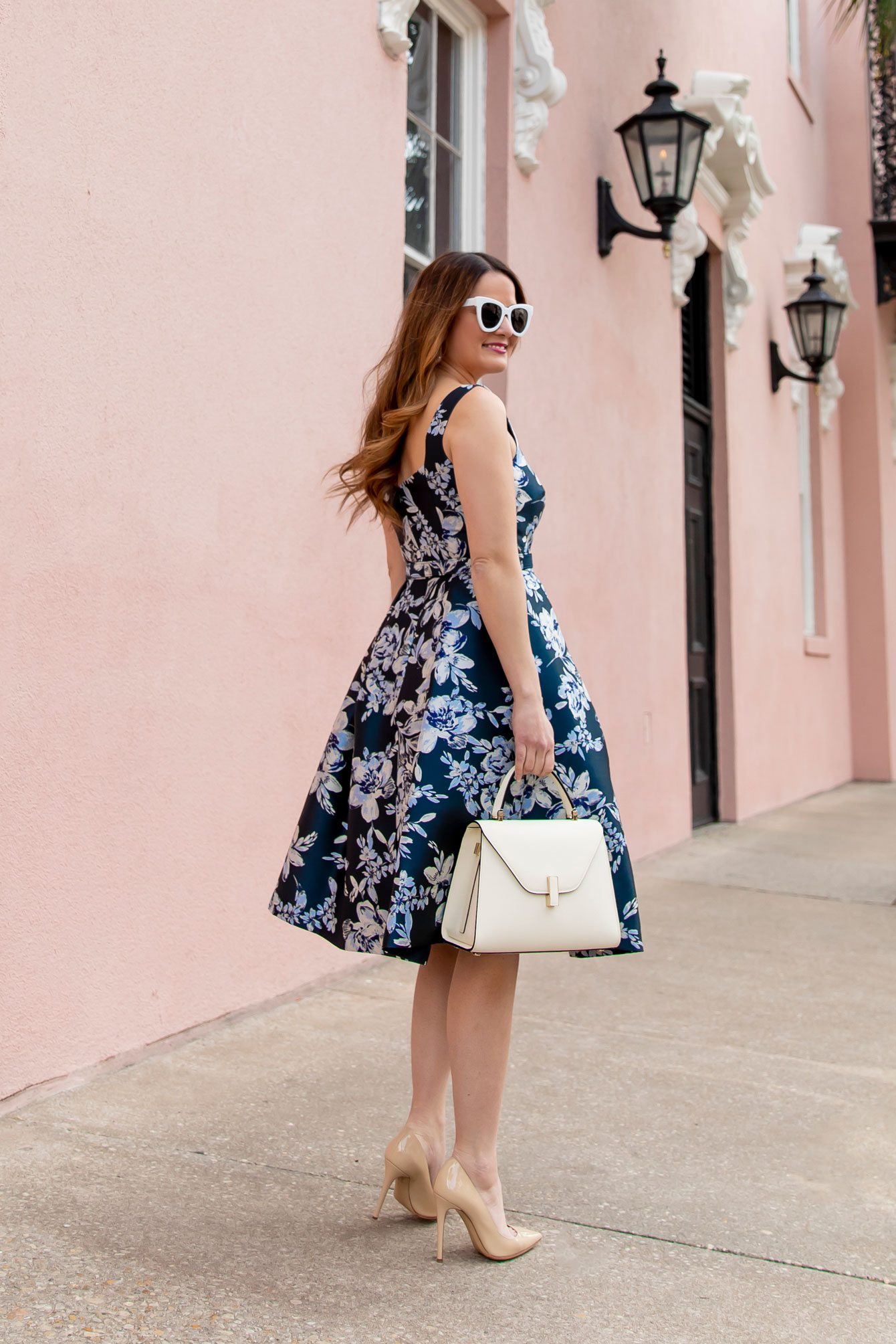 Eliza J Navy Floral Brocade Dress