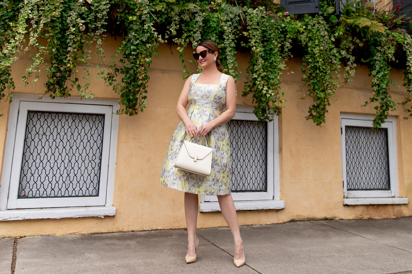 Eliza J Yellow Brocade Dress