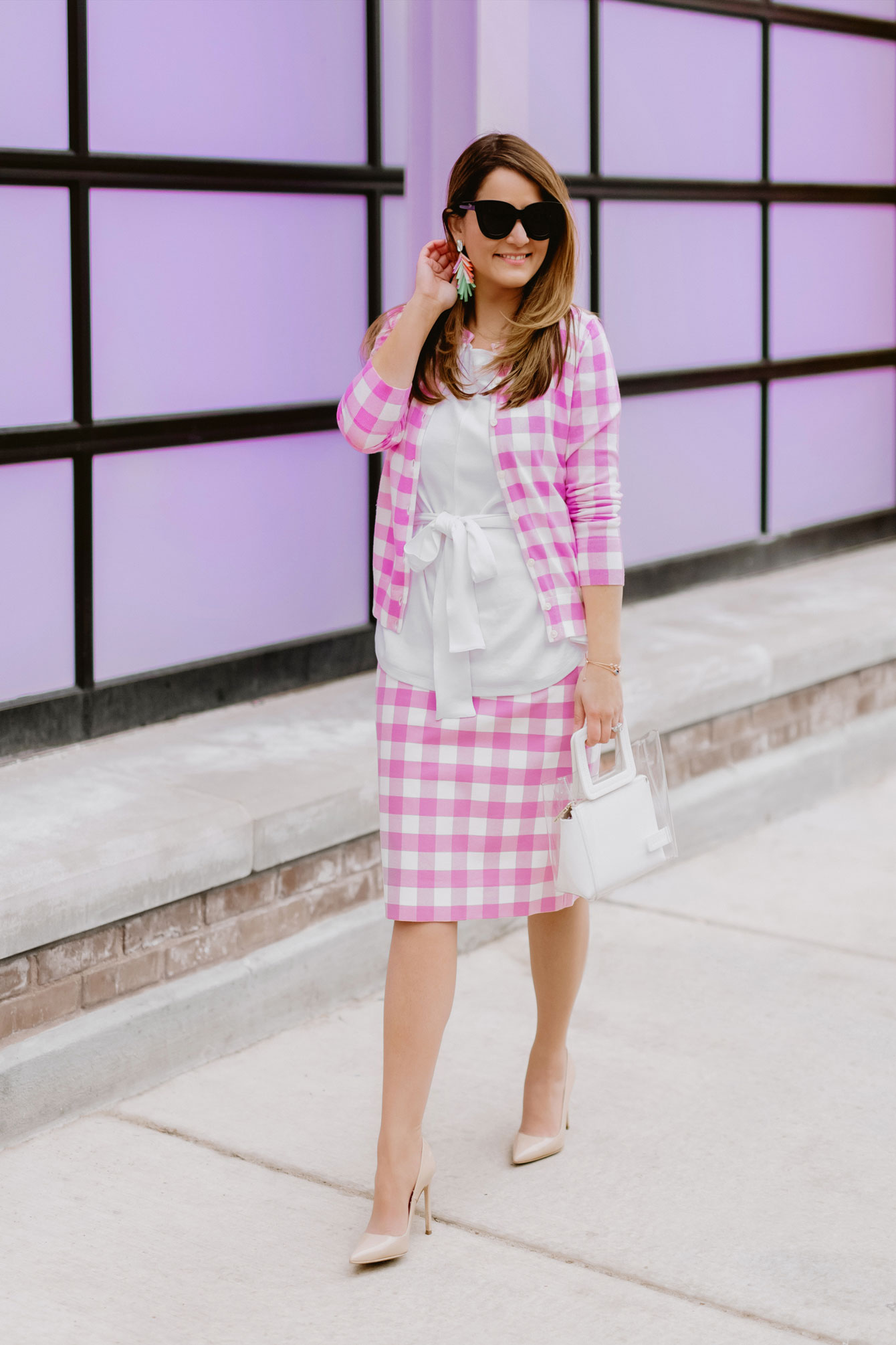 J Crew Pink Gingham Pencil Skirt