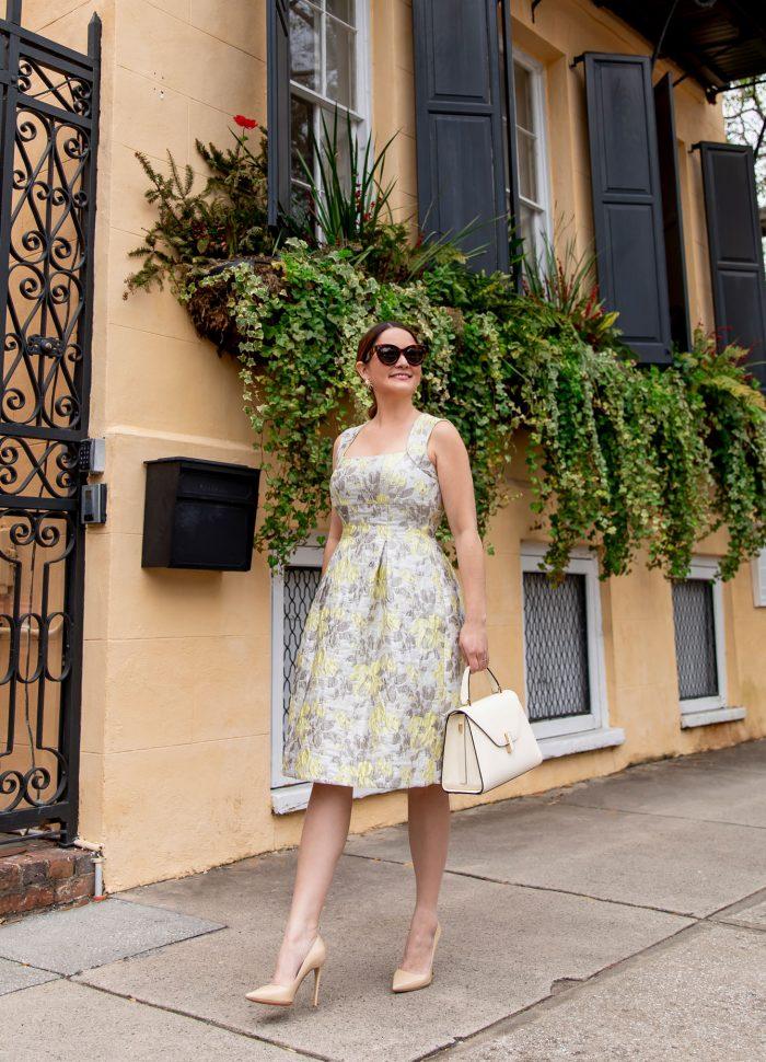 The Perfect Eliza J Yellow Brocade Dress