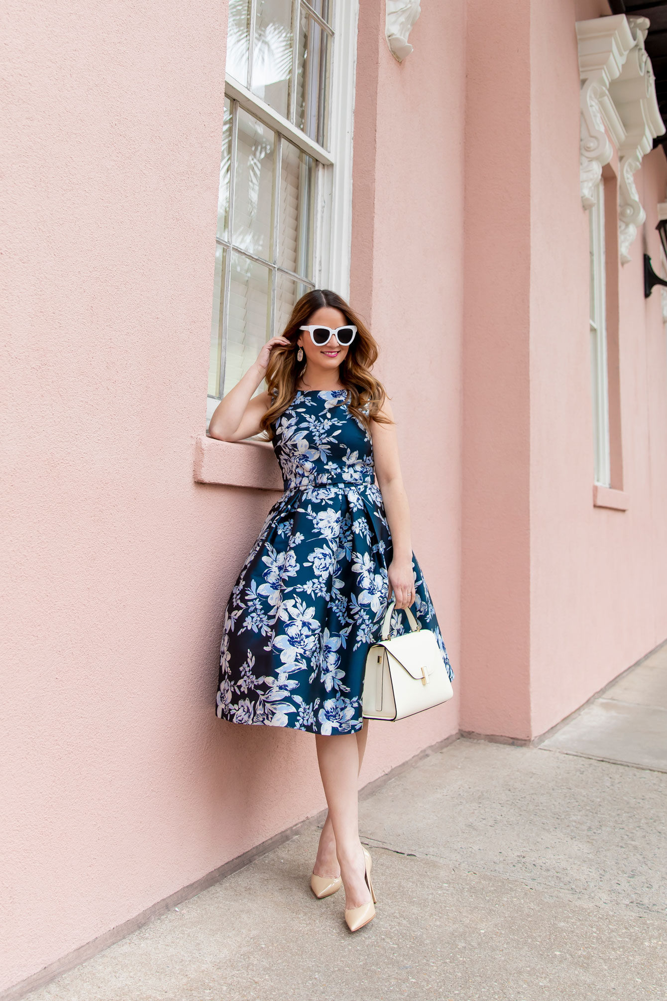 Navy Brocade Fit and Flare Dress