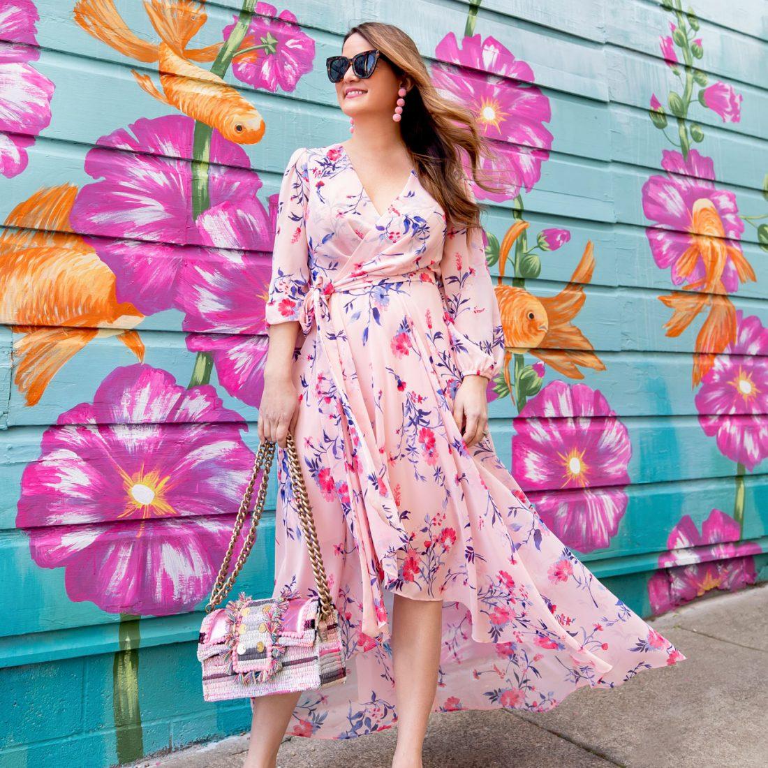 Pink Floral Maxi Wrap Dress