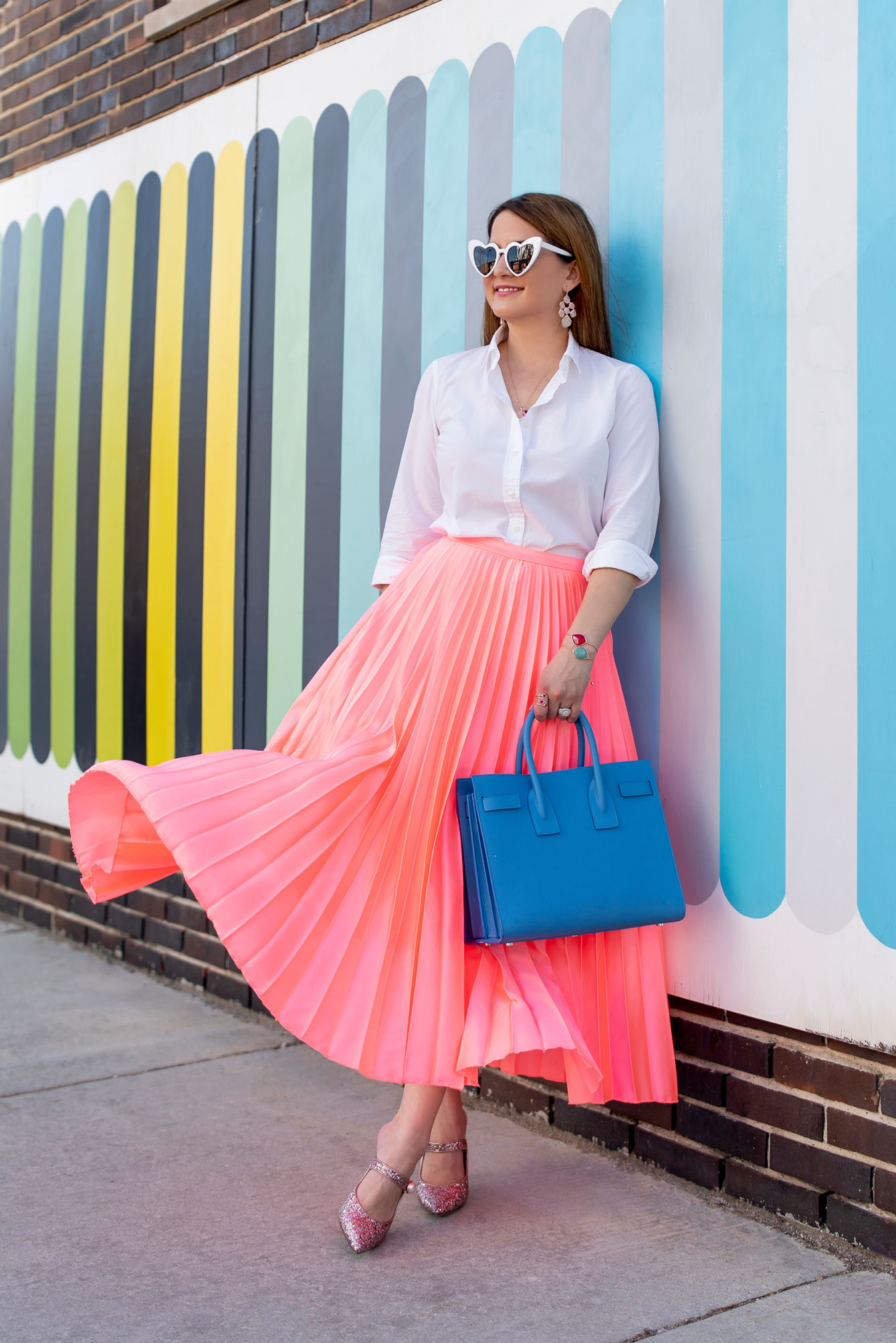 ASOS Coral Pleated Skirt