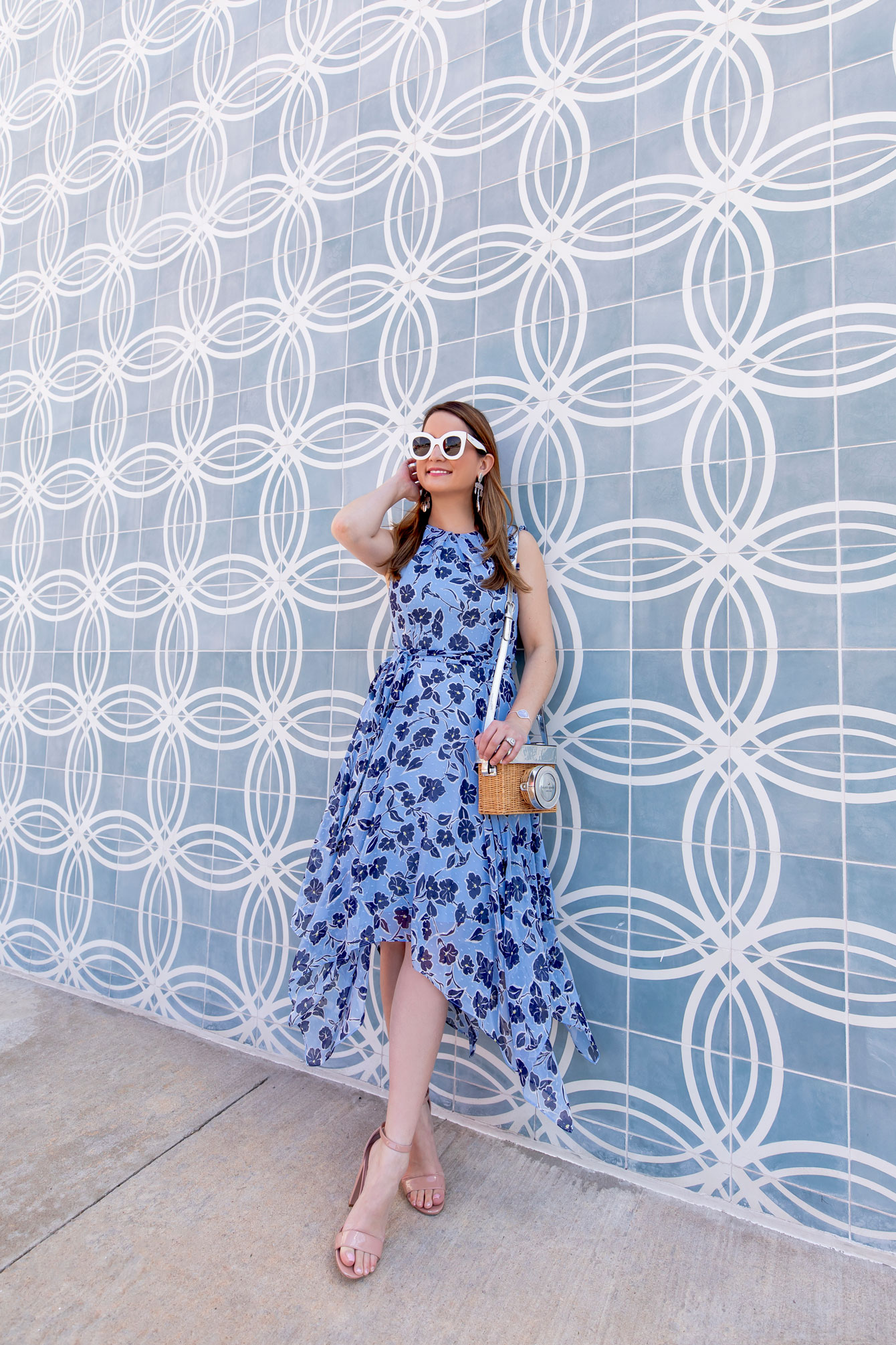Blue Floral Handkerchief Hem Dress