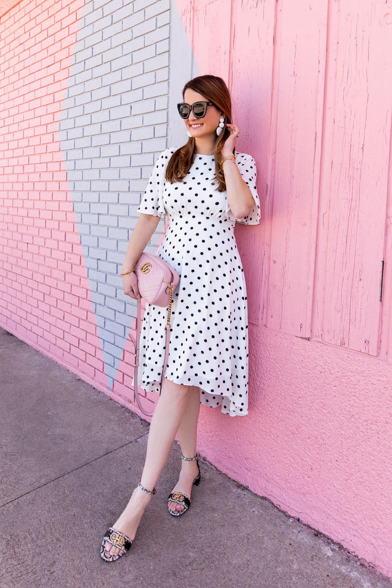 Eliza J Black White Polka Dot Dress