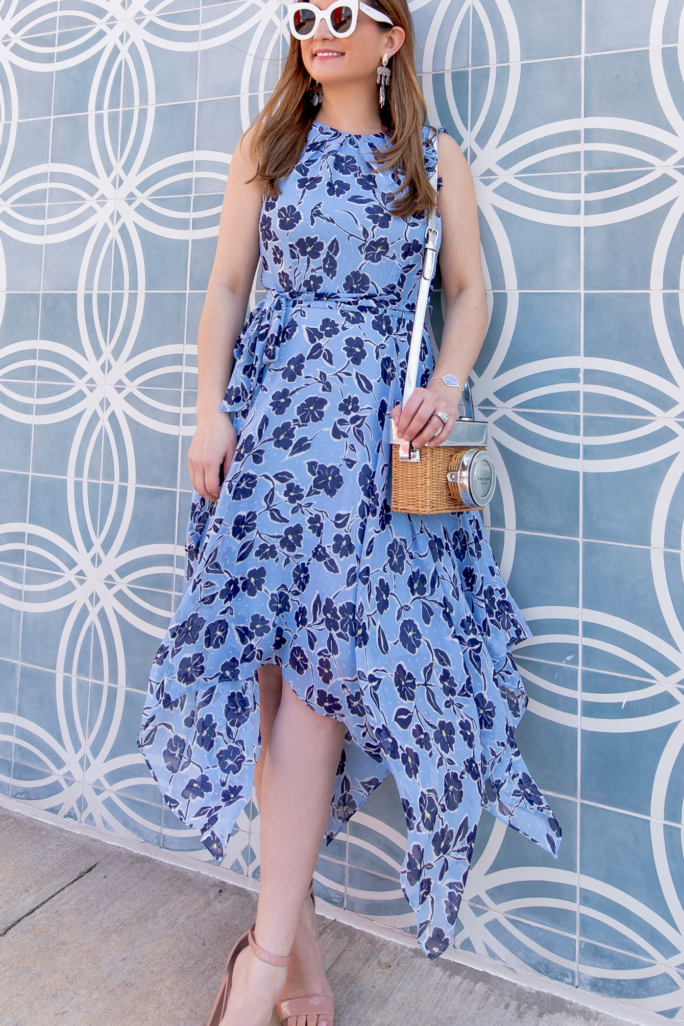 Eliza J Blue Floral Midi Dress
