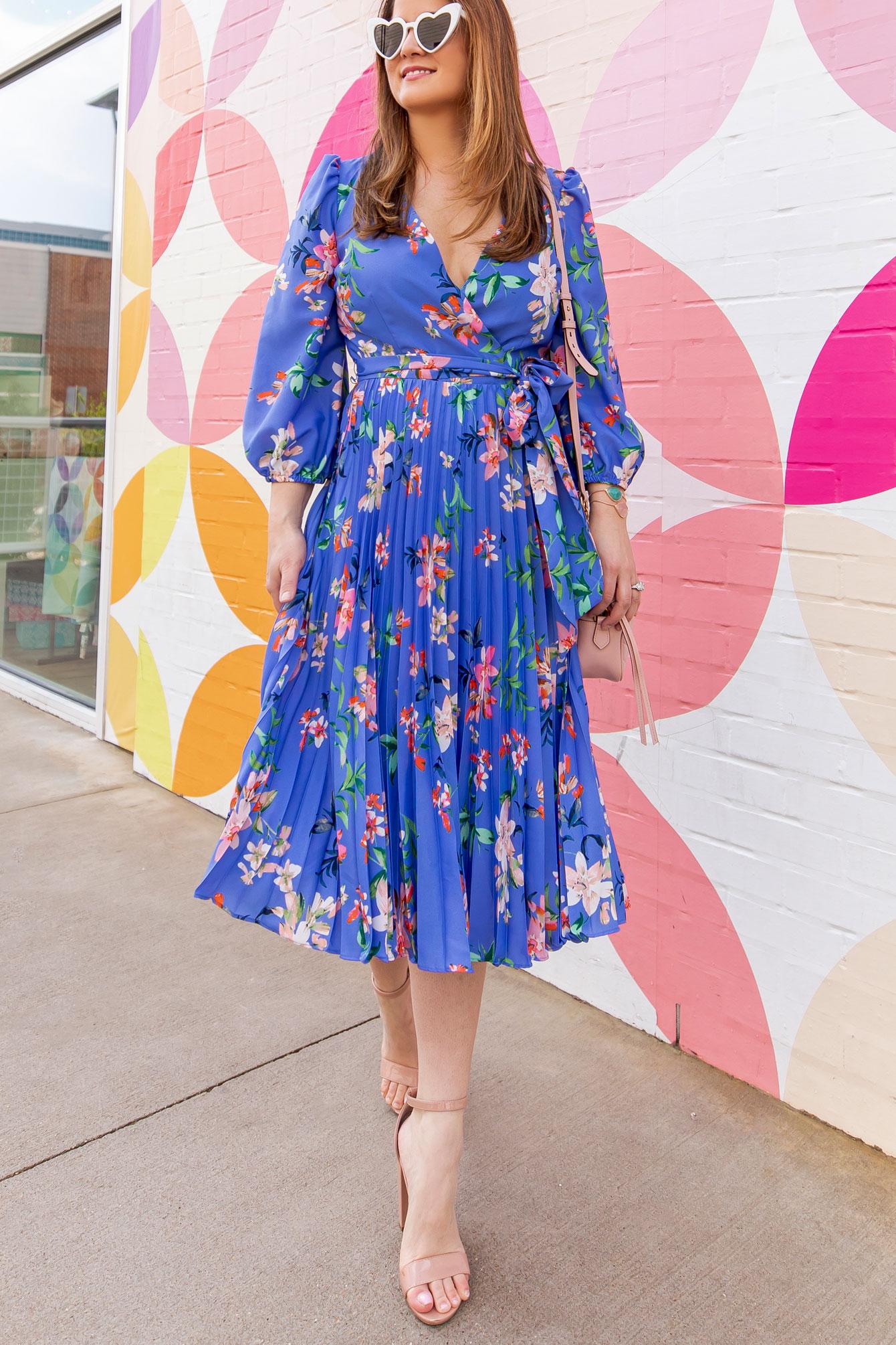 Eliza J Floral Pleated Dress