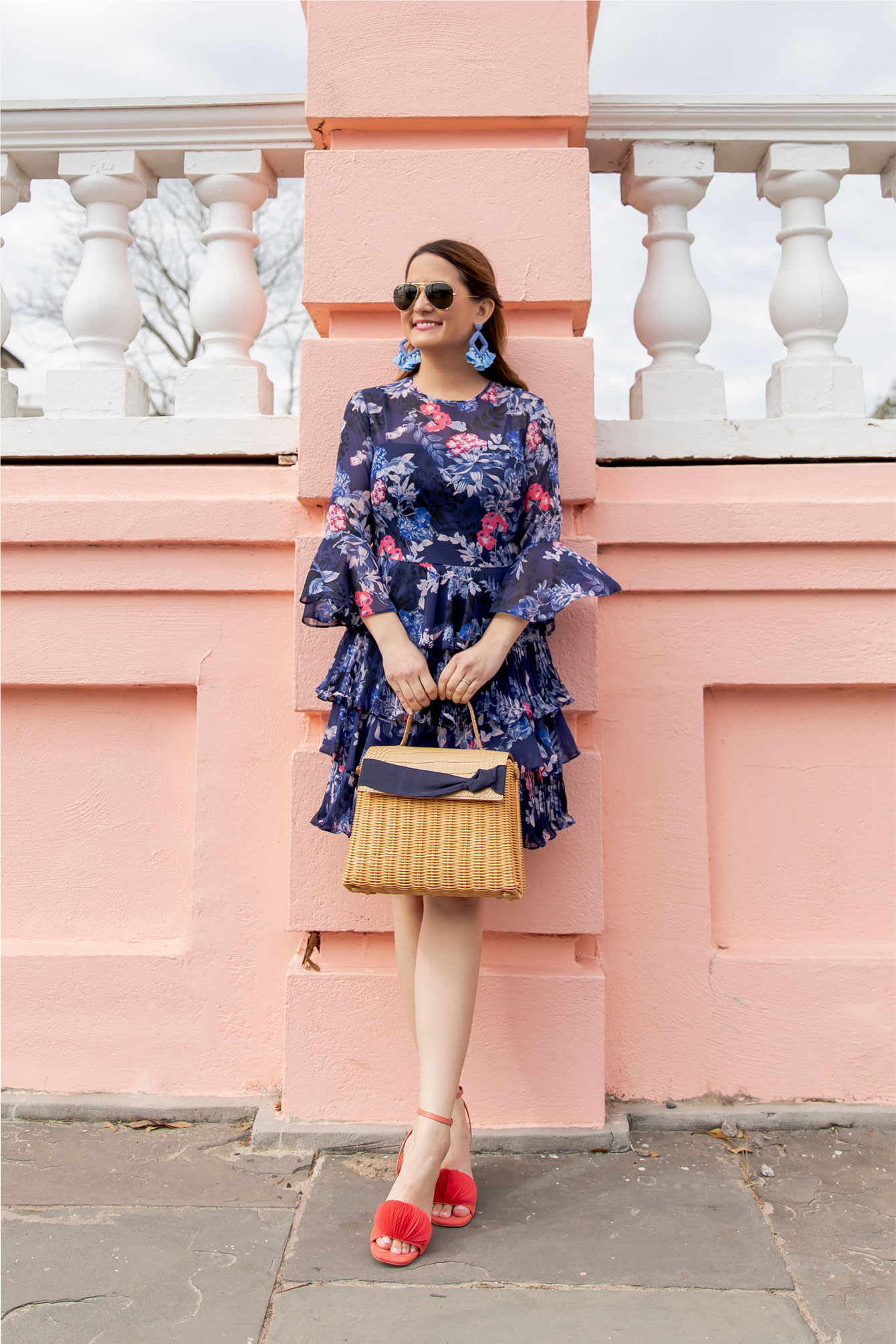 Eliza J Navy Coral Floral Dress