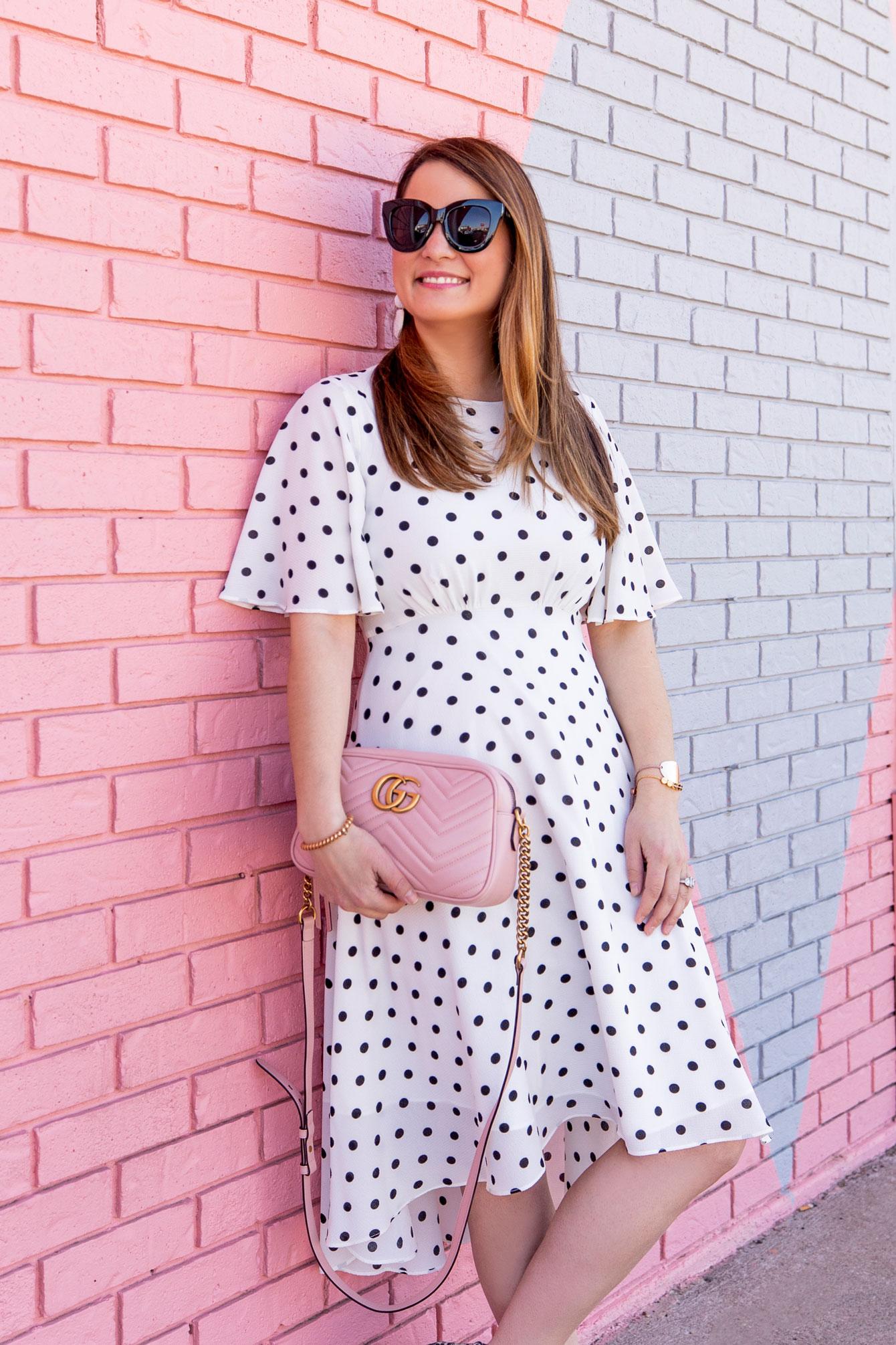 Eliza J Polka Dot Fit Flare Dress