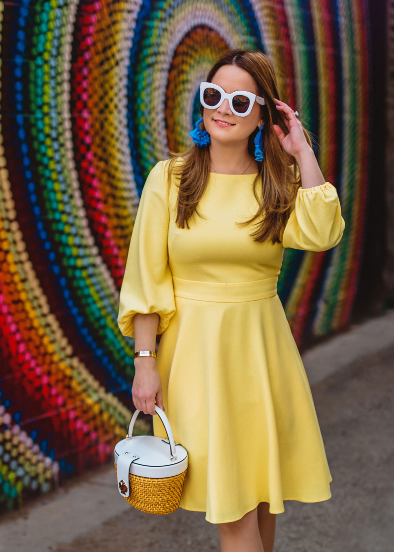 Eliza J Yellow Balloon Sleeve Dress