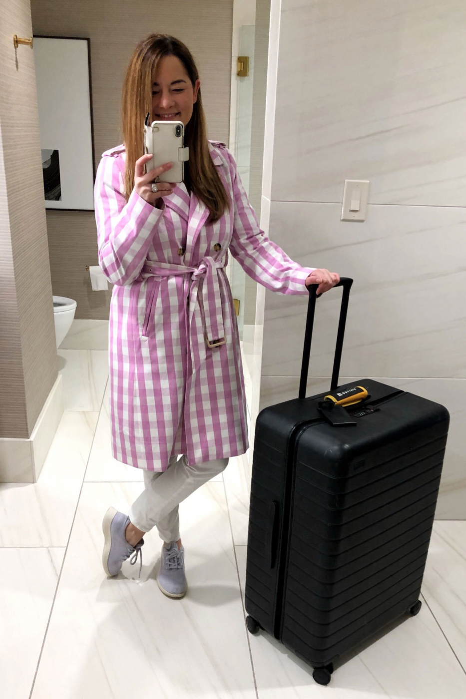 J Crew Pink Gingham Trench
