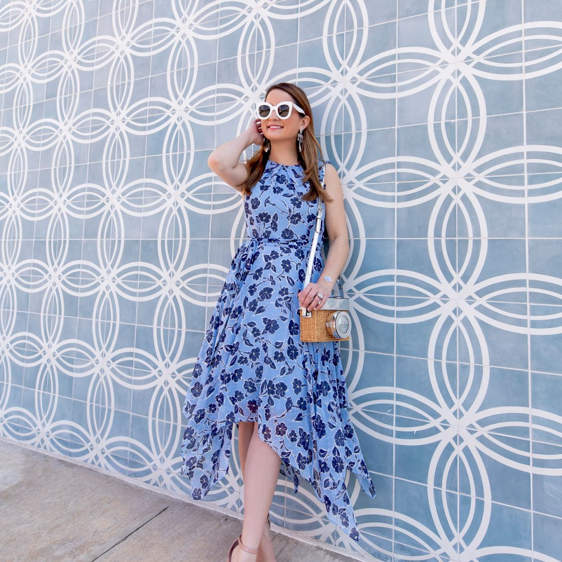 Jennifer Lake Blue Floral Dress
