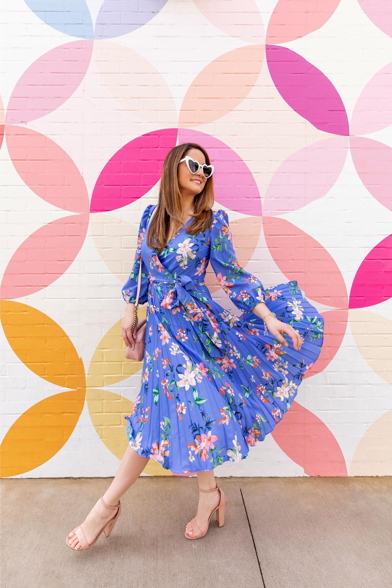 Jennifer Lake Blue Floral Pleated Wrap Dress