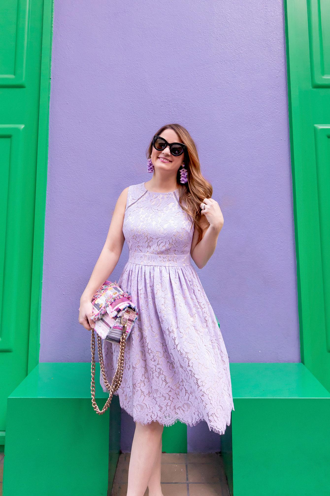 Jennifer Lake Eliza J Lilac Lace Fit and Flare Dress
