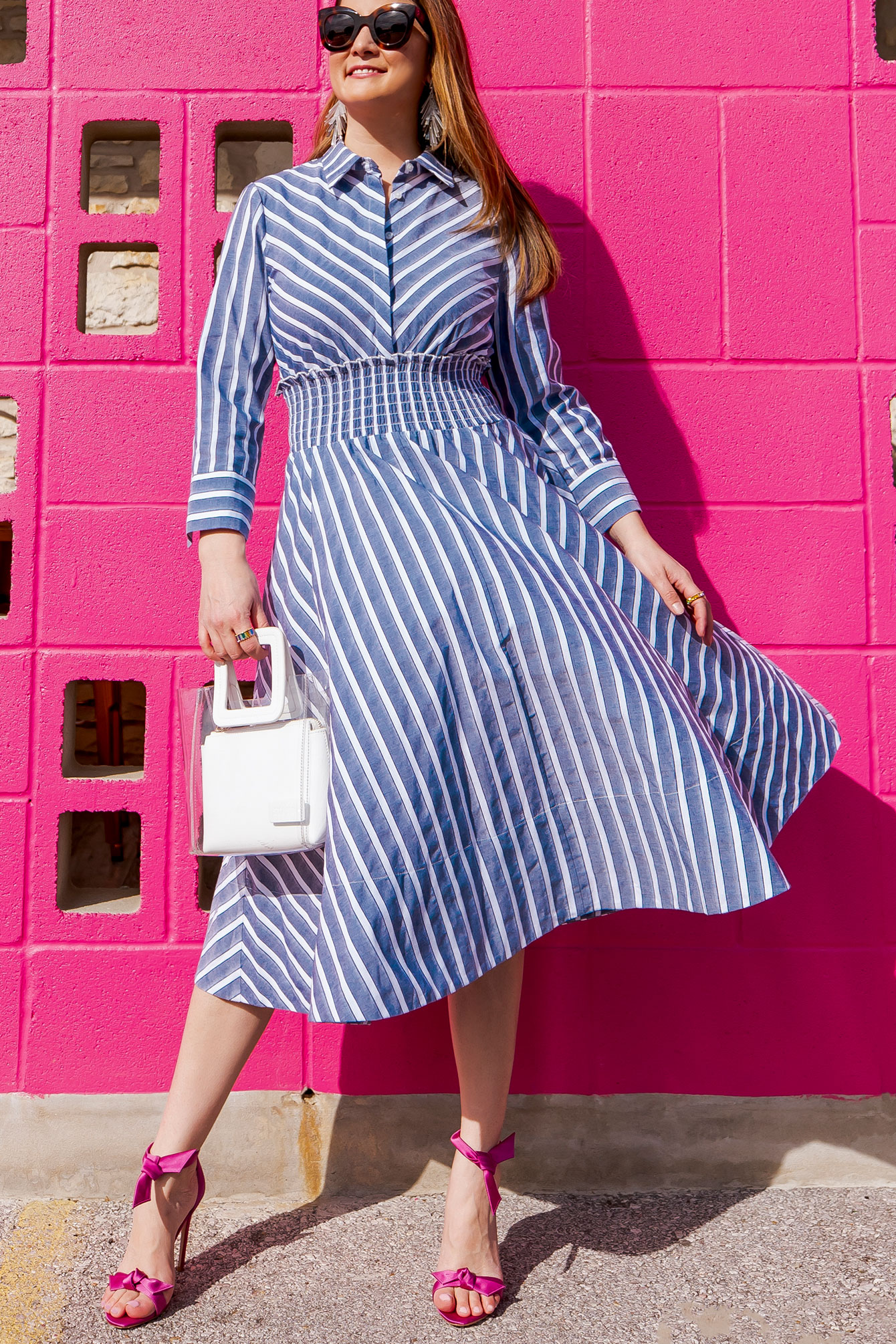 Ruched Waist Stripe Dress