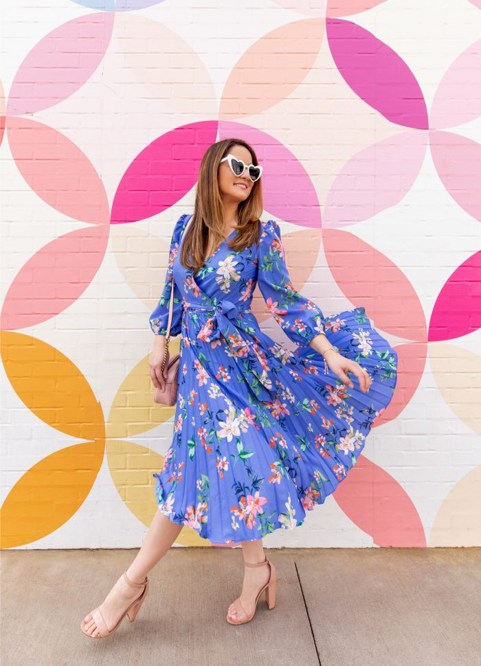 Blue Floral Pleated Dress in Austin