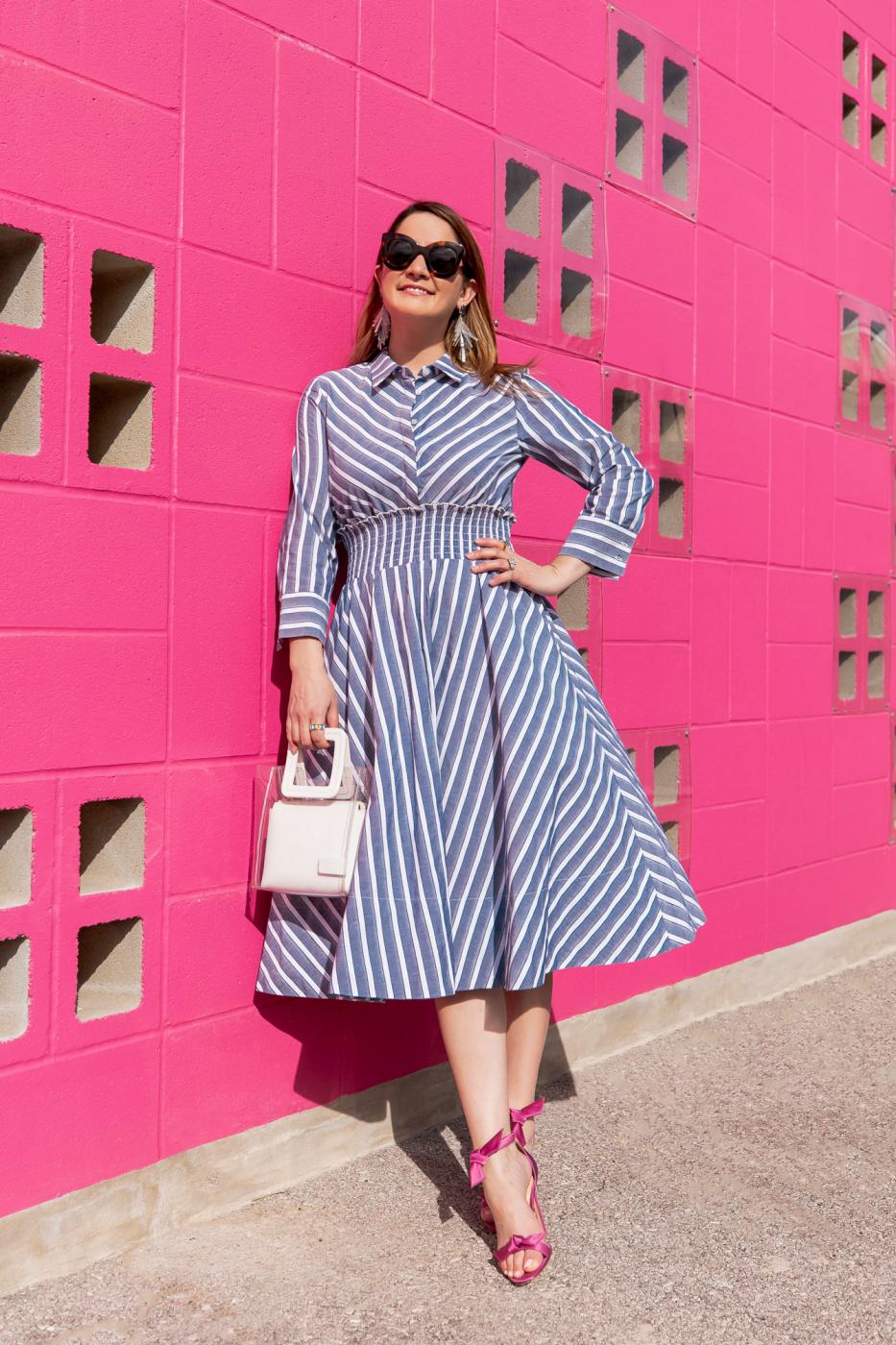 Style Charade Navy Stripe Fir Flare Dress
