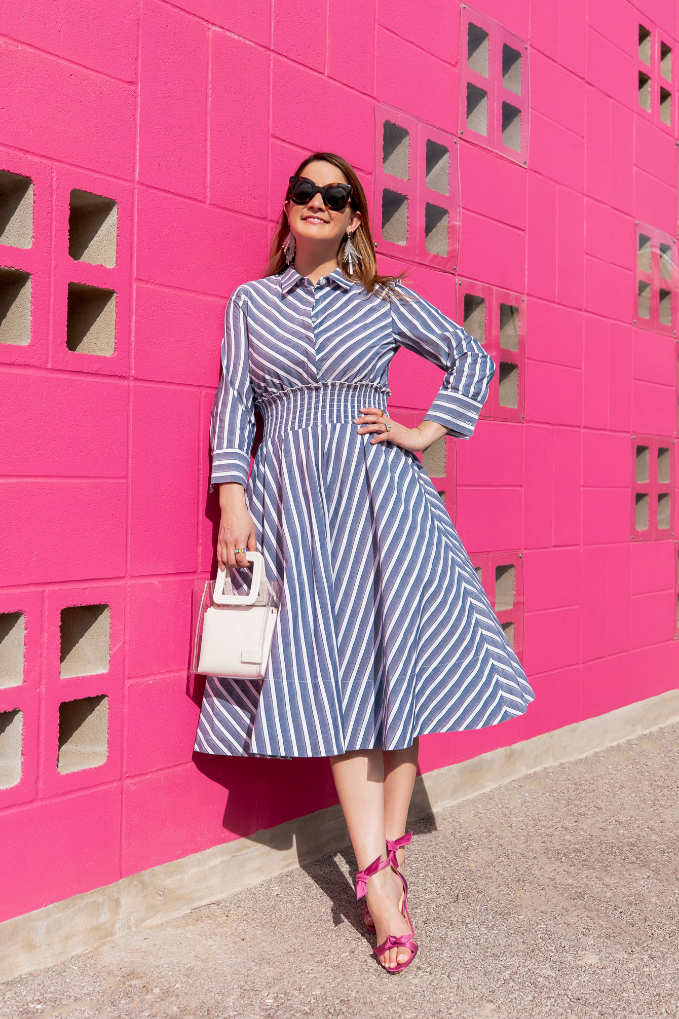 Style Charade Navy Stripe Fir Flare Dress