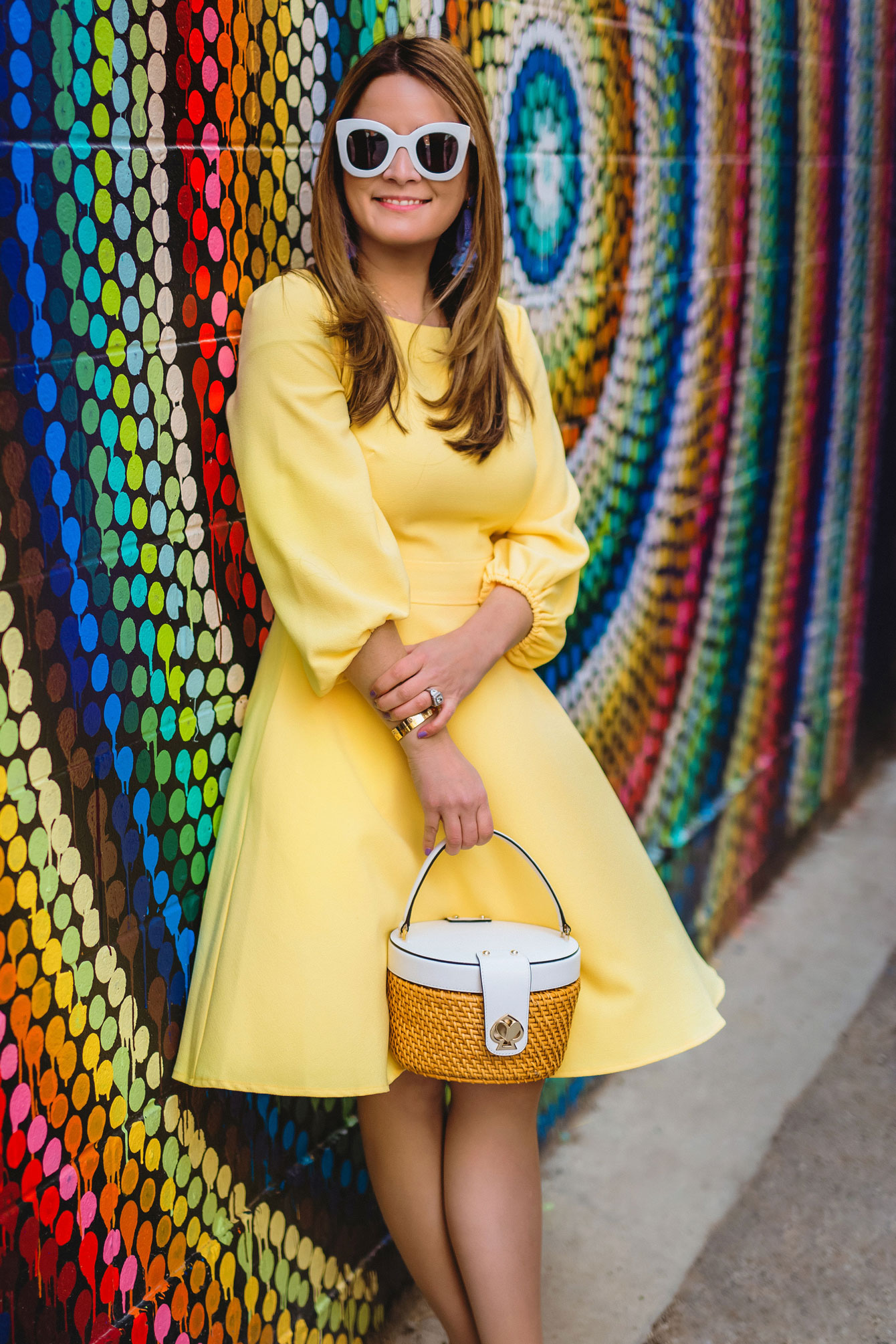 Yellow Balloon Sleeve Dress