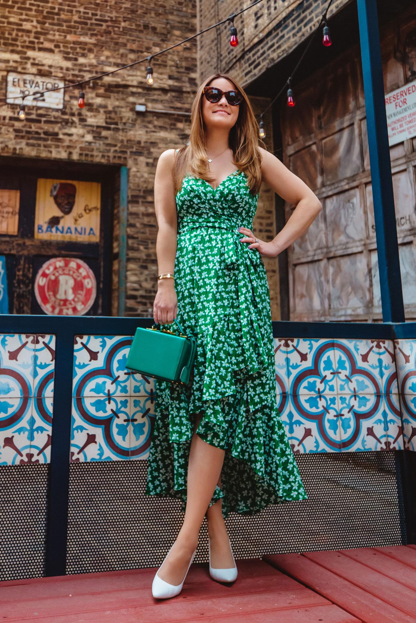 Eliza J Green Floral Wrap Dress