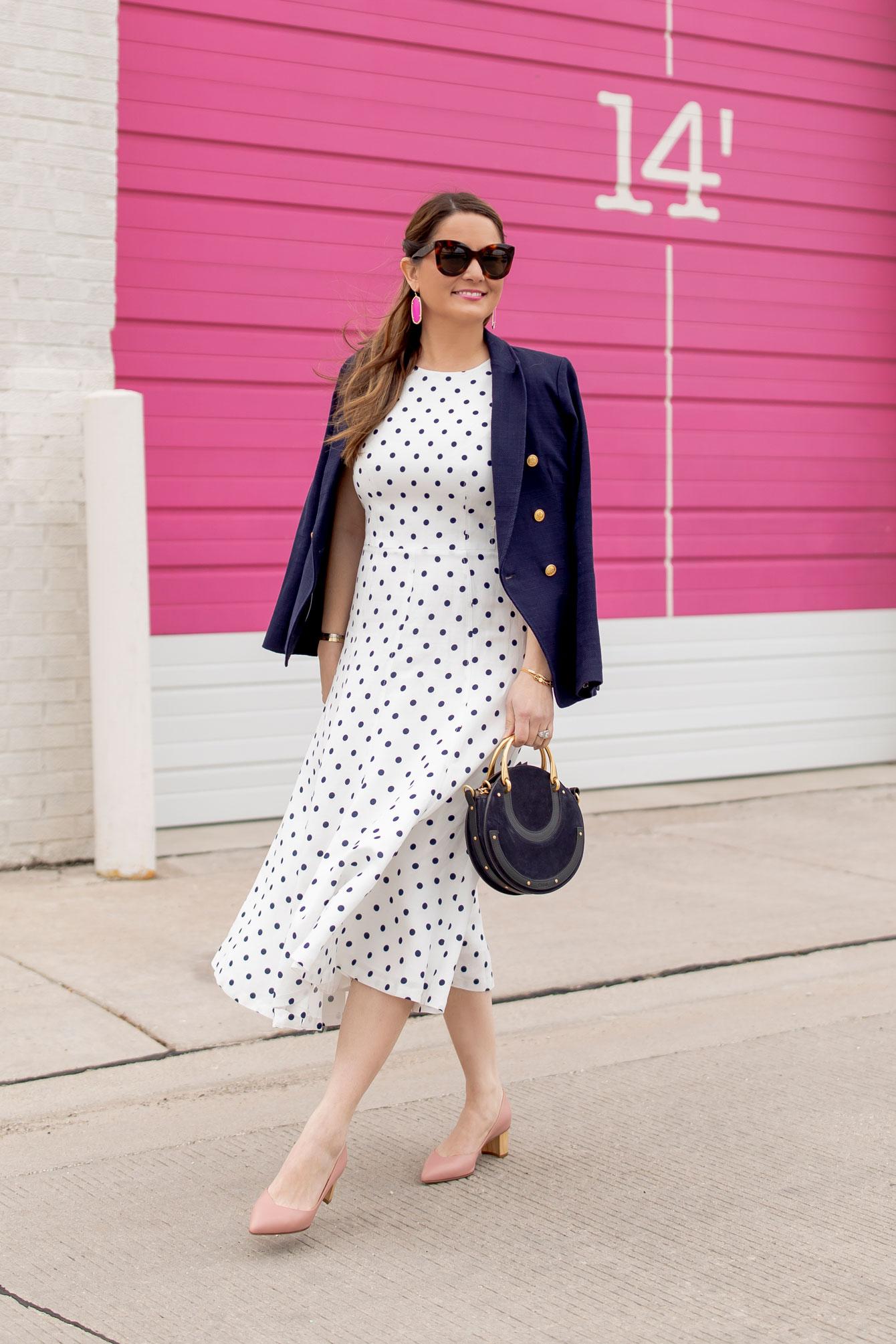 Eliza J Navy Polka Dot Midi Dress