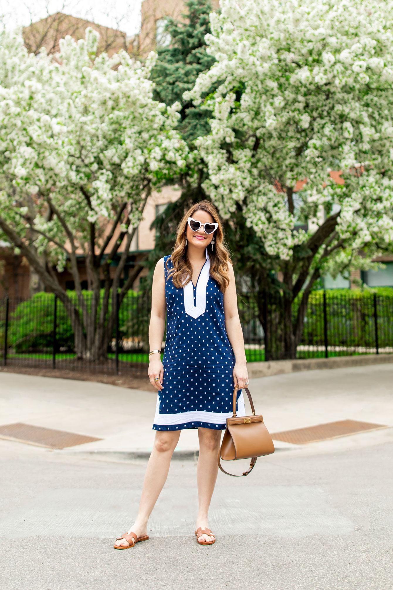 Eliza J Navy Polka Dot Tunic Dress