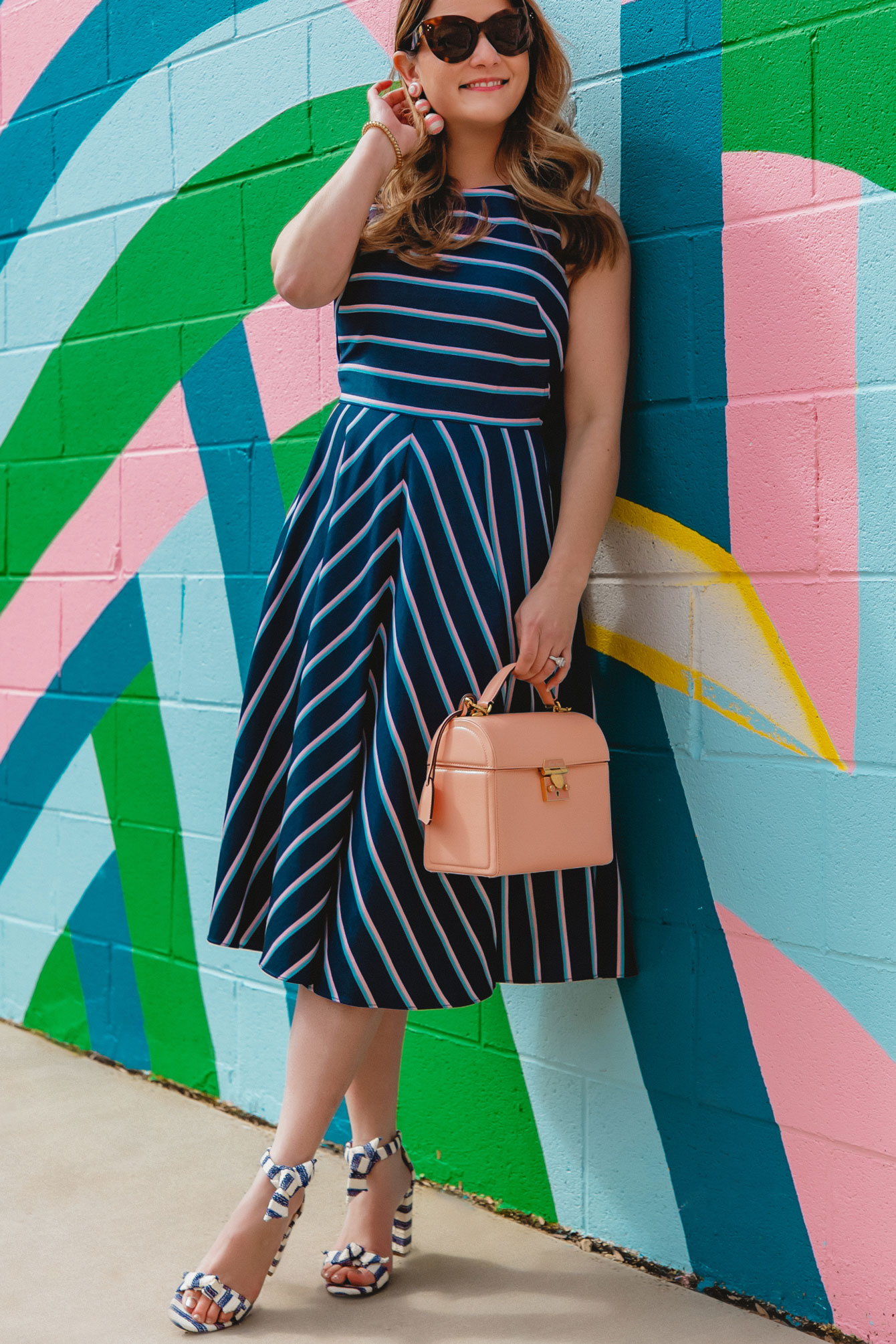 Eliza J Navy Stripe Dress