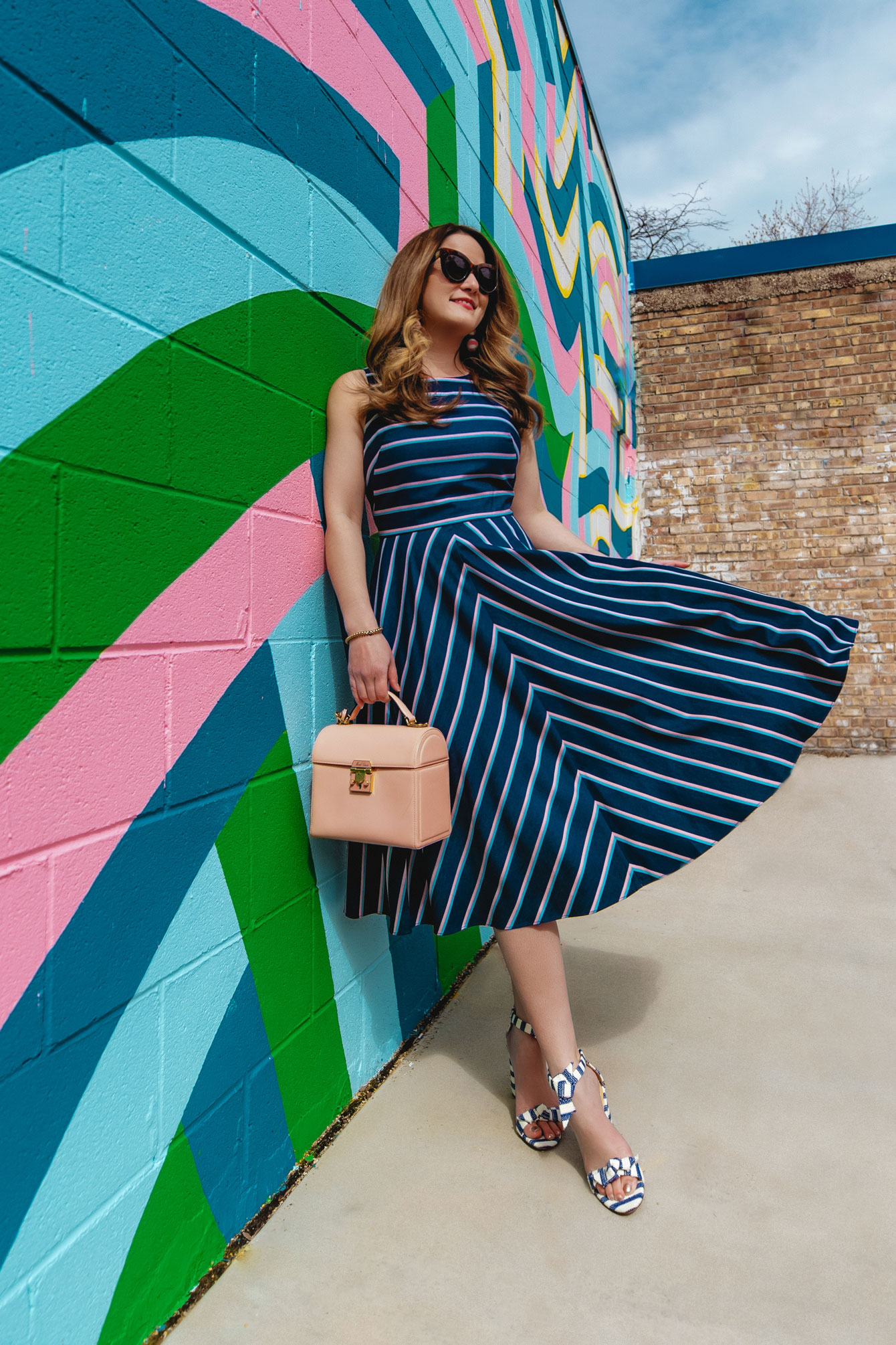 Eliza J Navy Stripe Fit Flare Dress