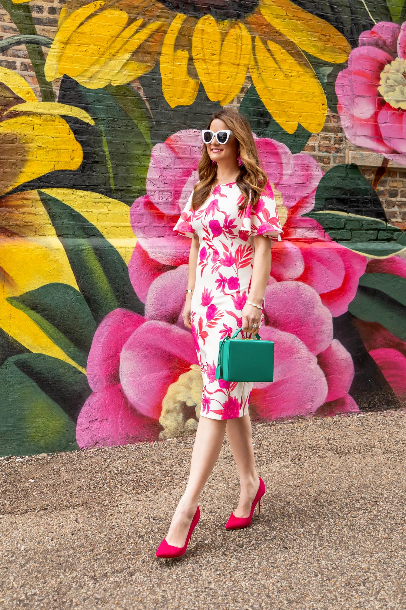 Eliza J Pink Floral Sheath Dress