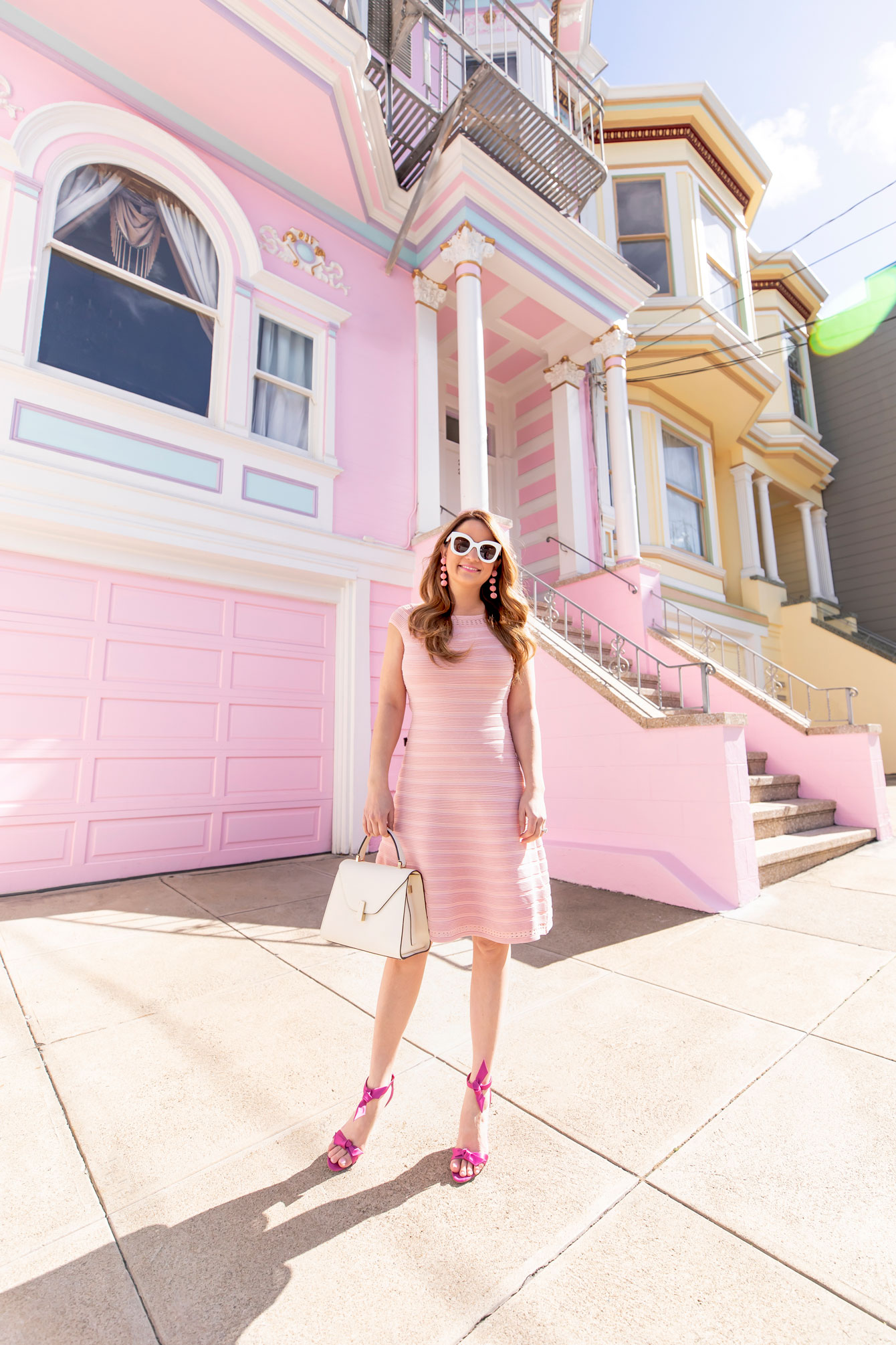 Eliza J Mini Pink Knit Flare Dress