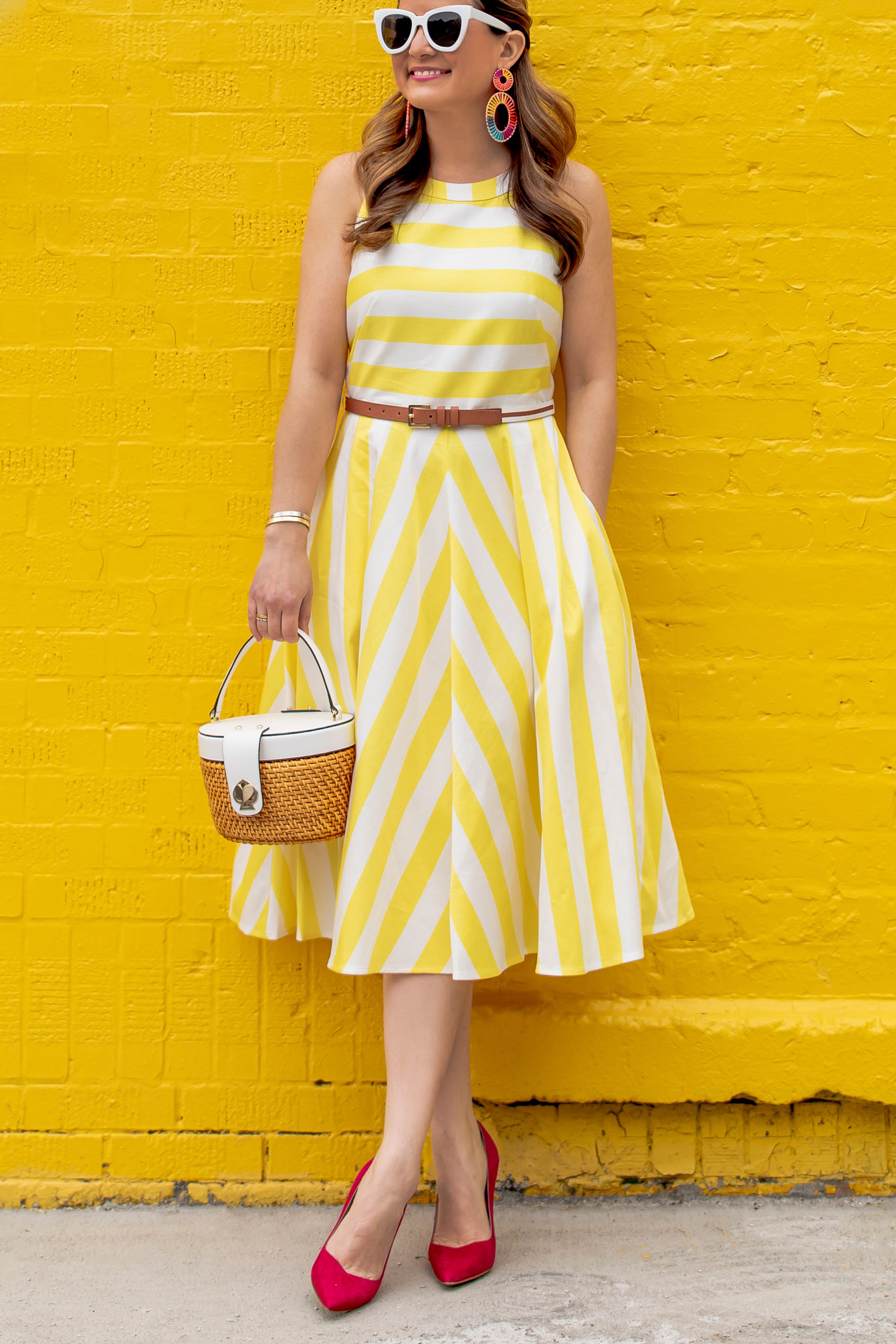 Eliza J Yellow Stripe Dress
