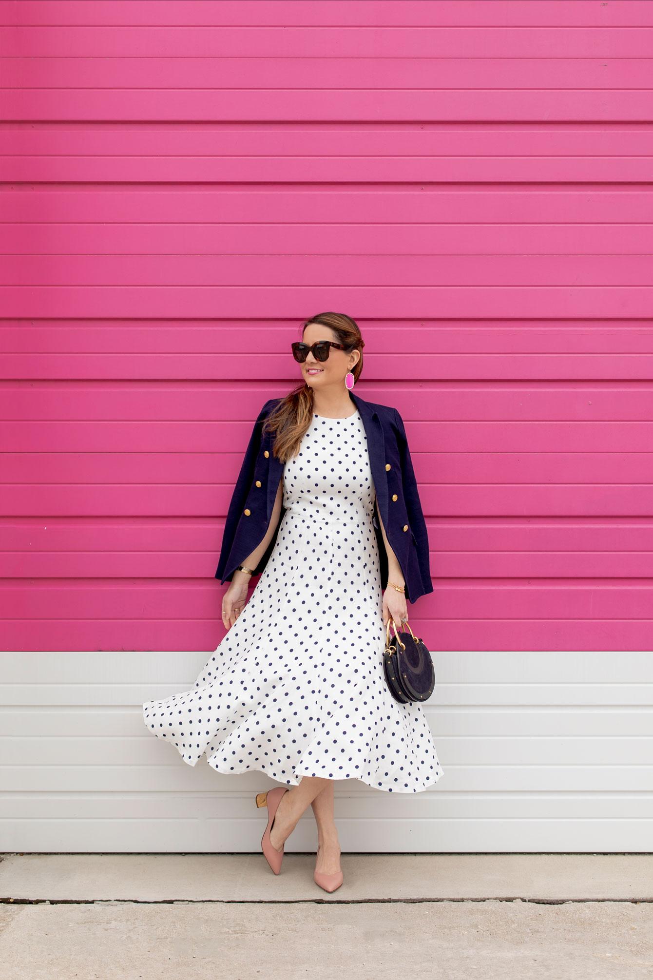 Jennifer Lake Eliza J Navy Polka Dot Dress