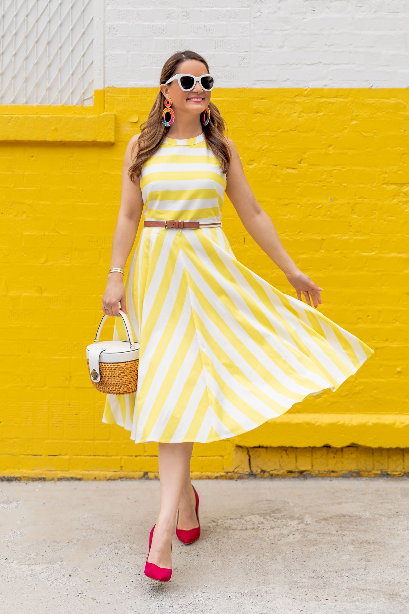 Jennifer Lake Eliza J Yellow Dress