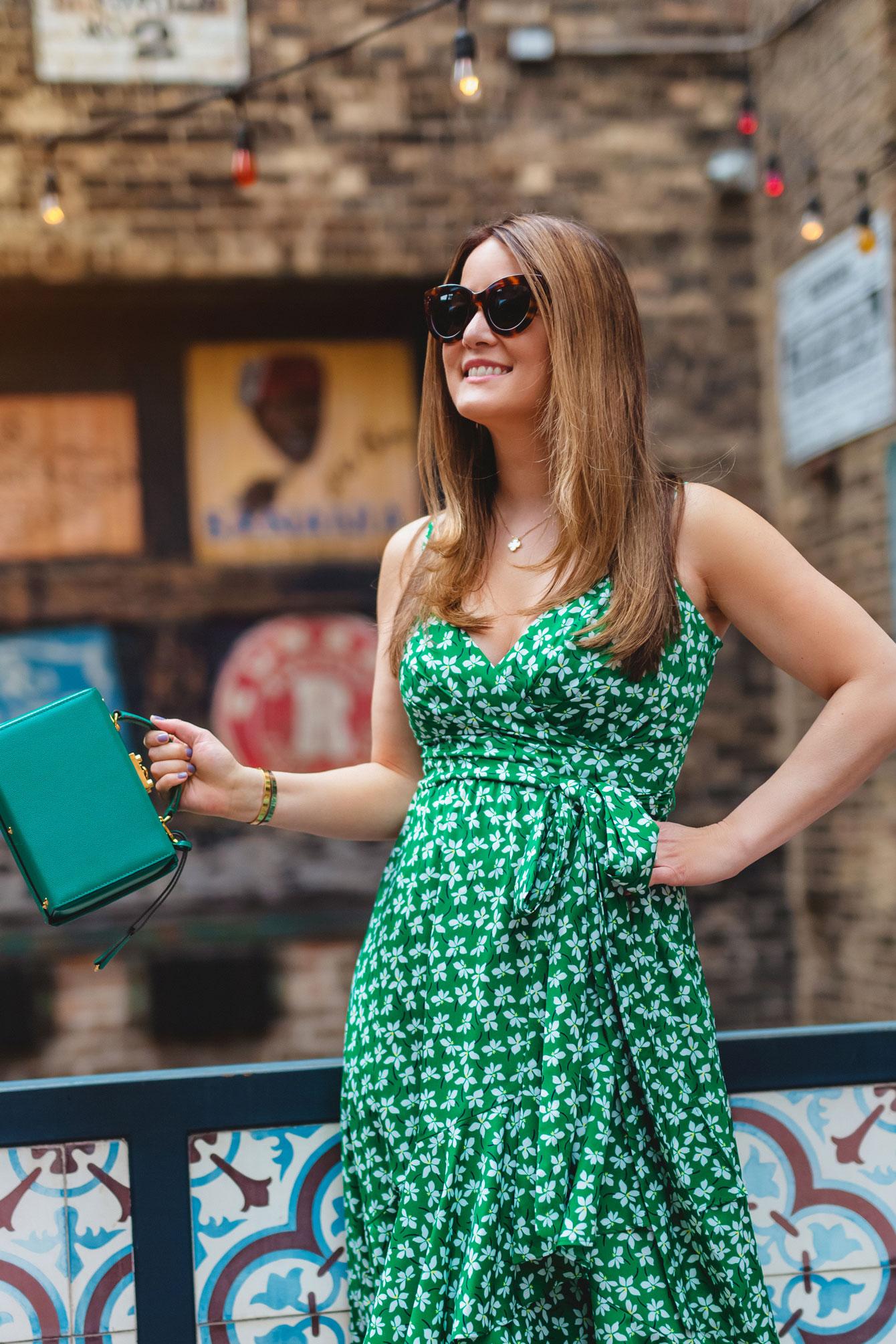 Jennifer Lake Green Floral Dress