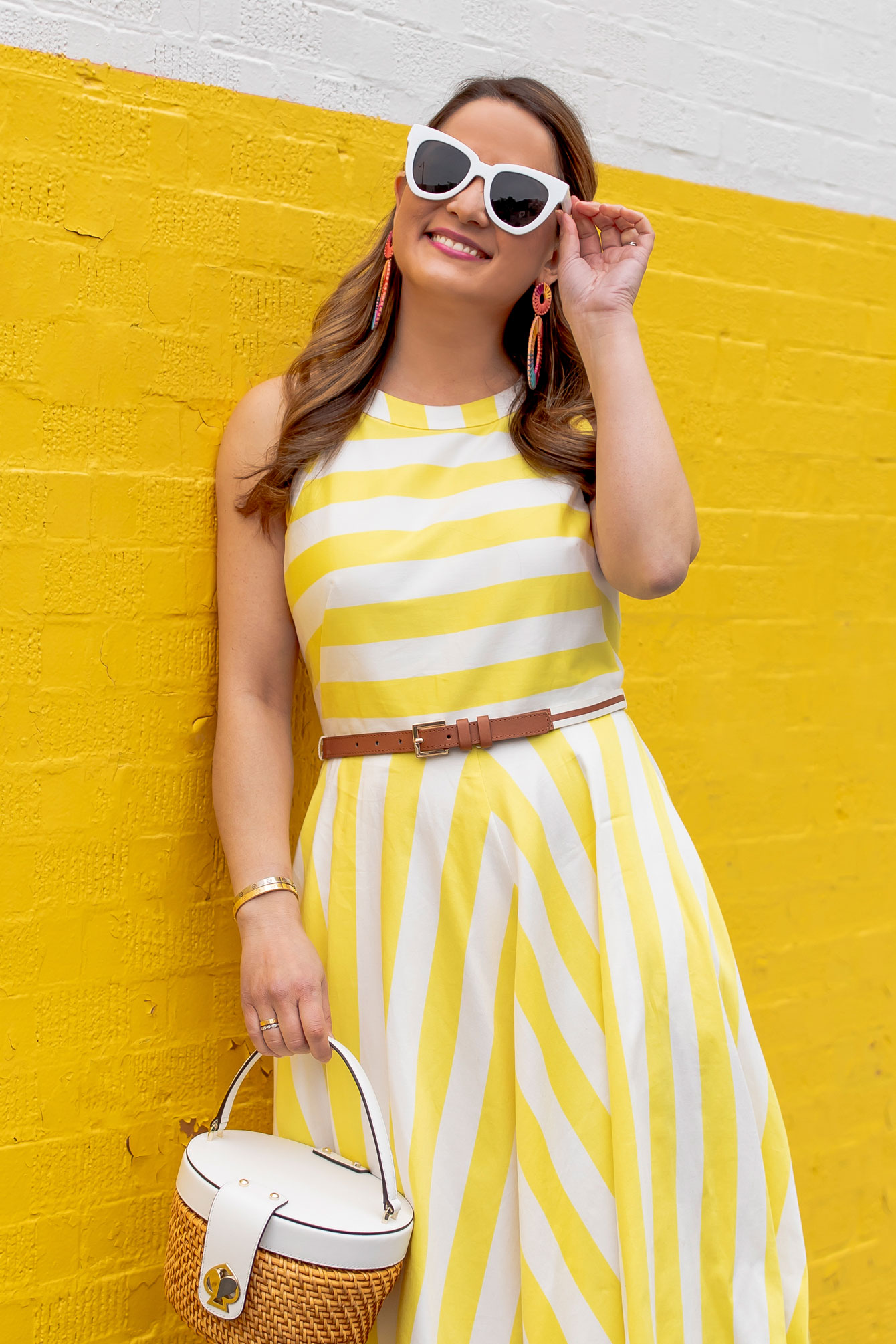 Jennifer Lake Yellow Stripe Dress