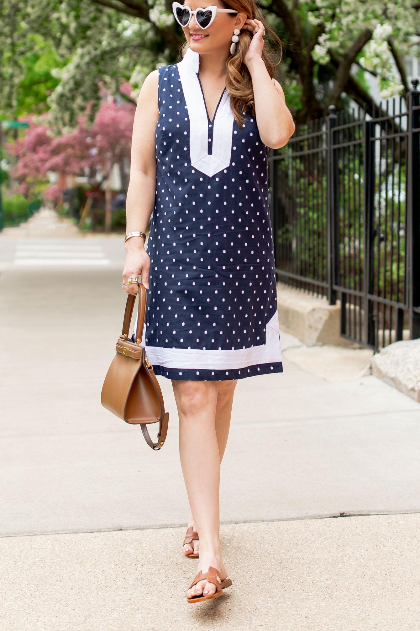 Navy White Tunic Dress