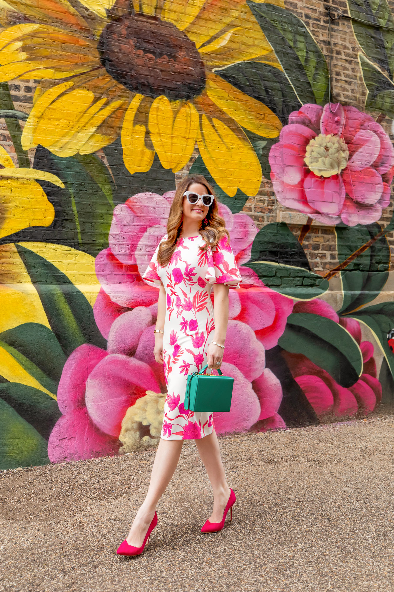 Pink Floral Flutter Sleeve Sheath Dress