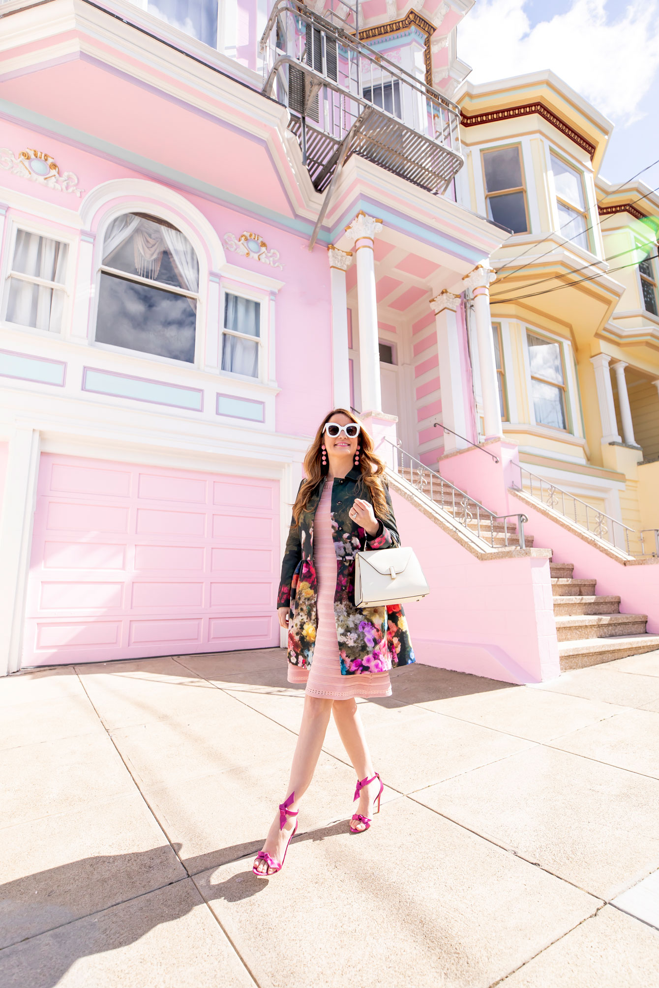 San Francisco Pink House Pink Knit Flare Dress