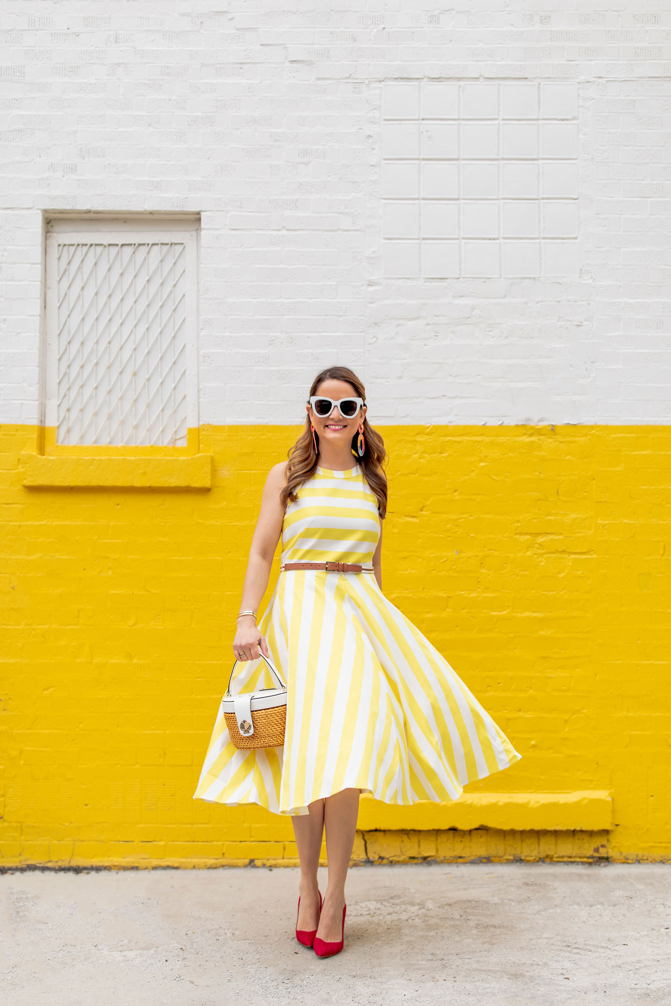 Yellow White Stripe Fit Flare Dress