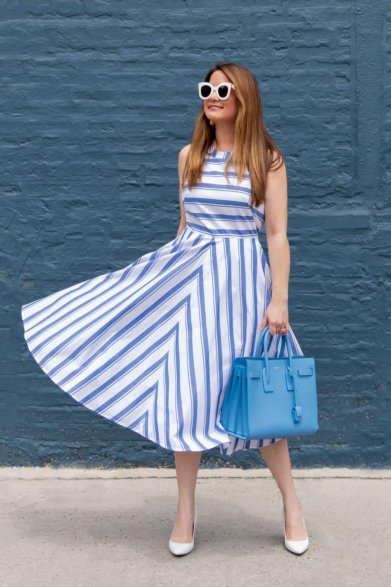 Eliza J Navy Stripe Halter Dress